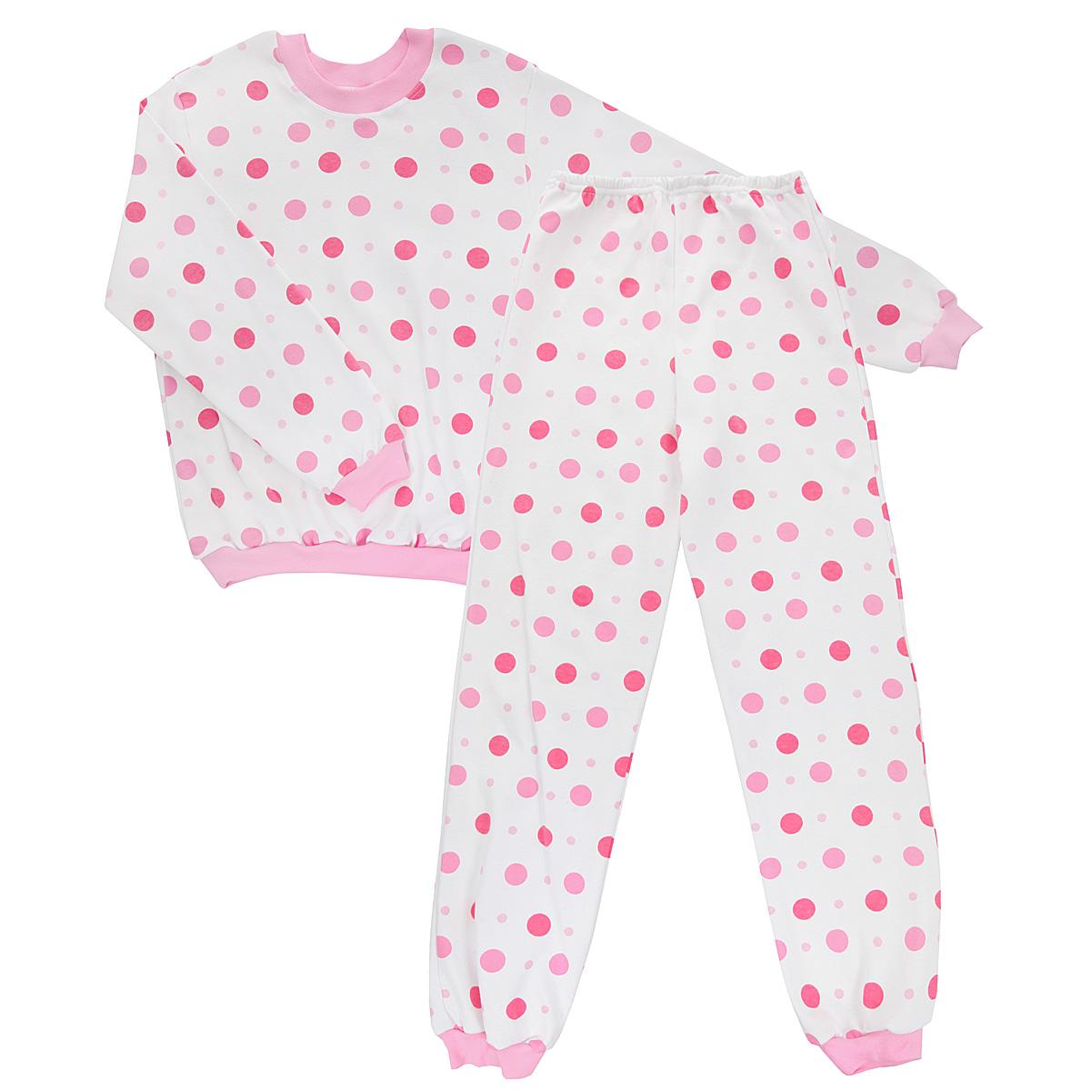 Пижама детская Трон-плюс, цвет: белый, розовый. 5555_горох. Размер 110/116, 4-8 лет5555_горохУютная детская пижама Трон-плюс, состоящая из джемпера и брюк, идеально подойдет вашему ребенку и станет отличным дополнением к детскому гардеробу. Изготовленная из интерлока, она необычайно мягкая и легкая, не сковывает движения, позволяет коже дышать и не раздражает даже самую нежную и чувствительную кожу ребенка. Трикотажный джемпер с длинными рукавами имеет круглый вырез горловины. Низ изделия, рукава и вырез горловины дополнены эластичной трикотажной резинкой.Брюки на талии имеют мягкую резинку, благодаря чему не сдавливают живот ребенка и не сползают. Низ брючин дополнен широкими манжетами.Оформлено изделие оригинальным принтом в горох. В такой пижаме ваш ребенок будет чувствовать себя комфортно и уютно во время сна.