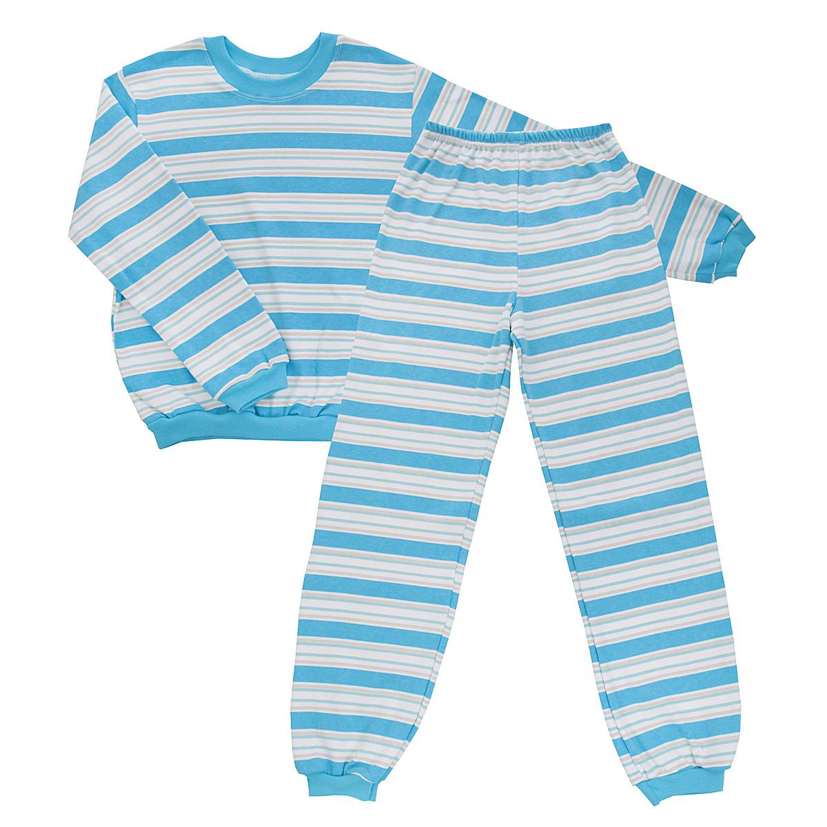 Пижама детская Трон-плюс, цвет: голубой, белый. 5555_полоска. Размер 134/140, 9-12 лет5555_полоскаУютная детская пижама Трон-плюс, состоящая из джемпера и брюк, идеально подойдет вашему ребенку и станет отличным дополнением к детскому гардеробу. Изготовленная из интерлока, она необычайно мягкая и легкая, не сковывает движения, позволяет коже дышать и не раздражает даже самую нежную и чувствительную кожу ребенка. Трикотажный джемпер с длинными рукавами имеет круглый вырез горловины. Низ изделия, рукава и вырез горловины дополнены эластичной трикотажной резинкой контрастного цвета.Брюки на талии имеют эластичную резинку, благодаря чему не сдавливают живот ребенка и не сползают. Низ брючин дополнен широкими эластичными манжетами контрастного цвета.Оформлено изделие принтом в полоску. В такой пижаме ваш ребенок будет чувствовать себя комфортно и уютно во время сна.