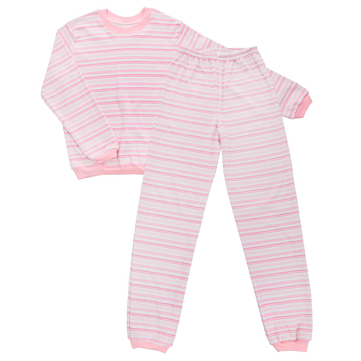 Пижама детская Трон-плюс, цвет: розовый, белый. 5555_полоска. Размер 80/86, 1-2 года5555_полоскаУютная детская пижама Трон-плюс, состоящая из джемпера и брюк, идеально подойдет вашему ребенку и станет отличным дополнением к детскому гардеробу. Изготовленная из интерлока, она необычайно мягкая и легкая, не сковывает движения, позволяет коже дышать и не раздражает даже самую нежную и чувствительную кожу ребенка. Трикотажный джемпер с длинными рукавами имеет круглый вырез горловины. Низ изделия, рукава и вырез горловины дополнены эластичной трикотажной резинкой контрастного цвета.Брюки на талии имеют эластичную резинку, благодаря чему не сдавливают живот ребенка и не сползают. Низ брючин дополнен широкими эластичными манжетами контрастного цвета.Оформлено изделие принтом в полоску. В такой пижаме ваш ребенок будет чувствовать себя комфортно и уютно во время сна.
