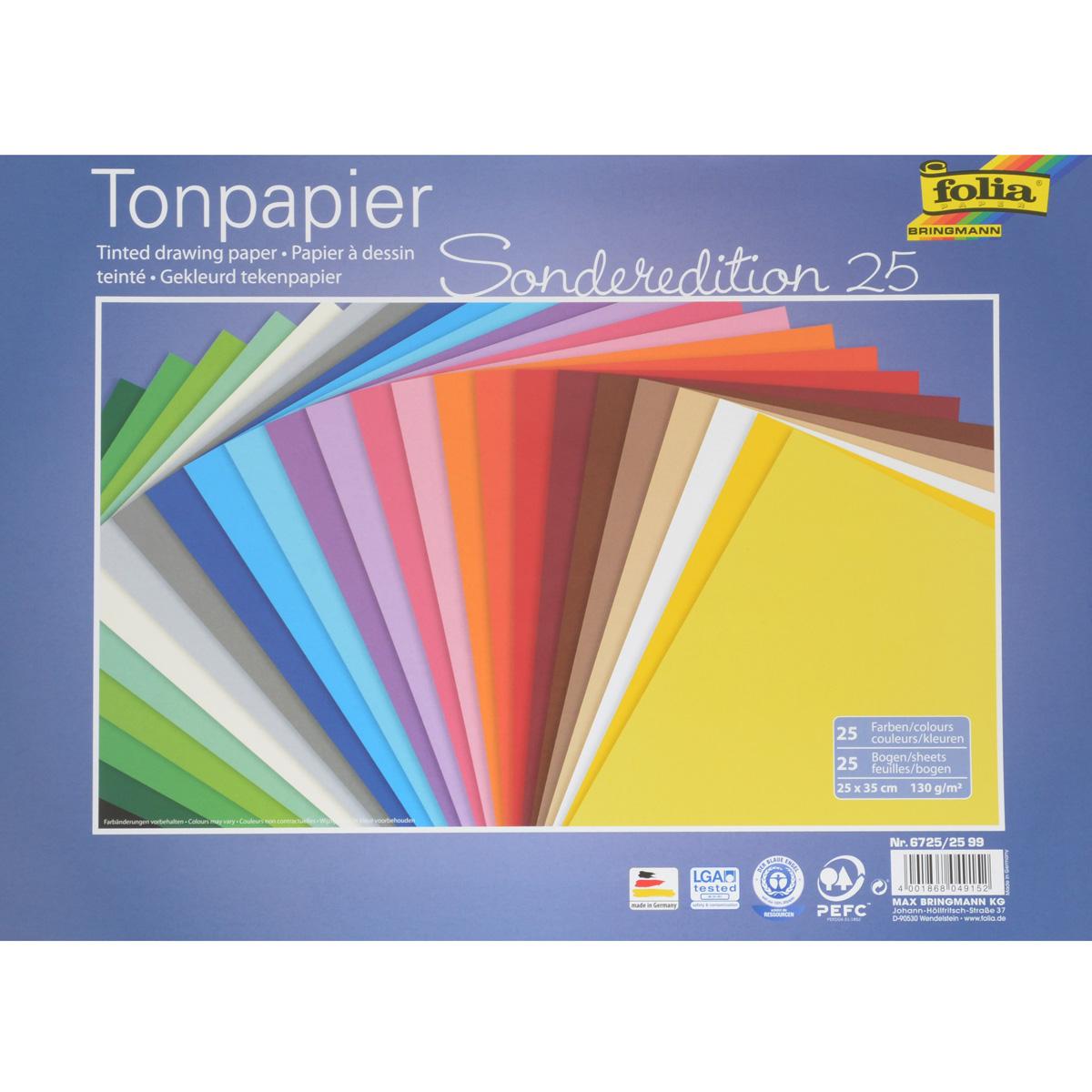 Бумага цветная Folia, 25 см х 35 см, 25 листов7708059Набор двусторонней цветной бумаги Folia прекрасно подходит для изготовления эксклюзивных подарков, открыток и многого другого. Детали, вырезанные из такой бумаги, прекрасно украсят открытки, аппликации и другие всевозможные поделки. В набор входит 25 листов бумаги разных цветов. Работа с набором развивает мелкую моторику, усидчивость и формирует художественный вкус.Плотность бумаги: 130 г/м2.Размер листа: 25 см х 35 см.