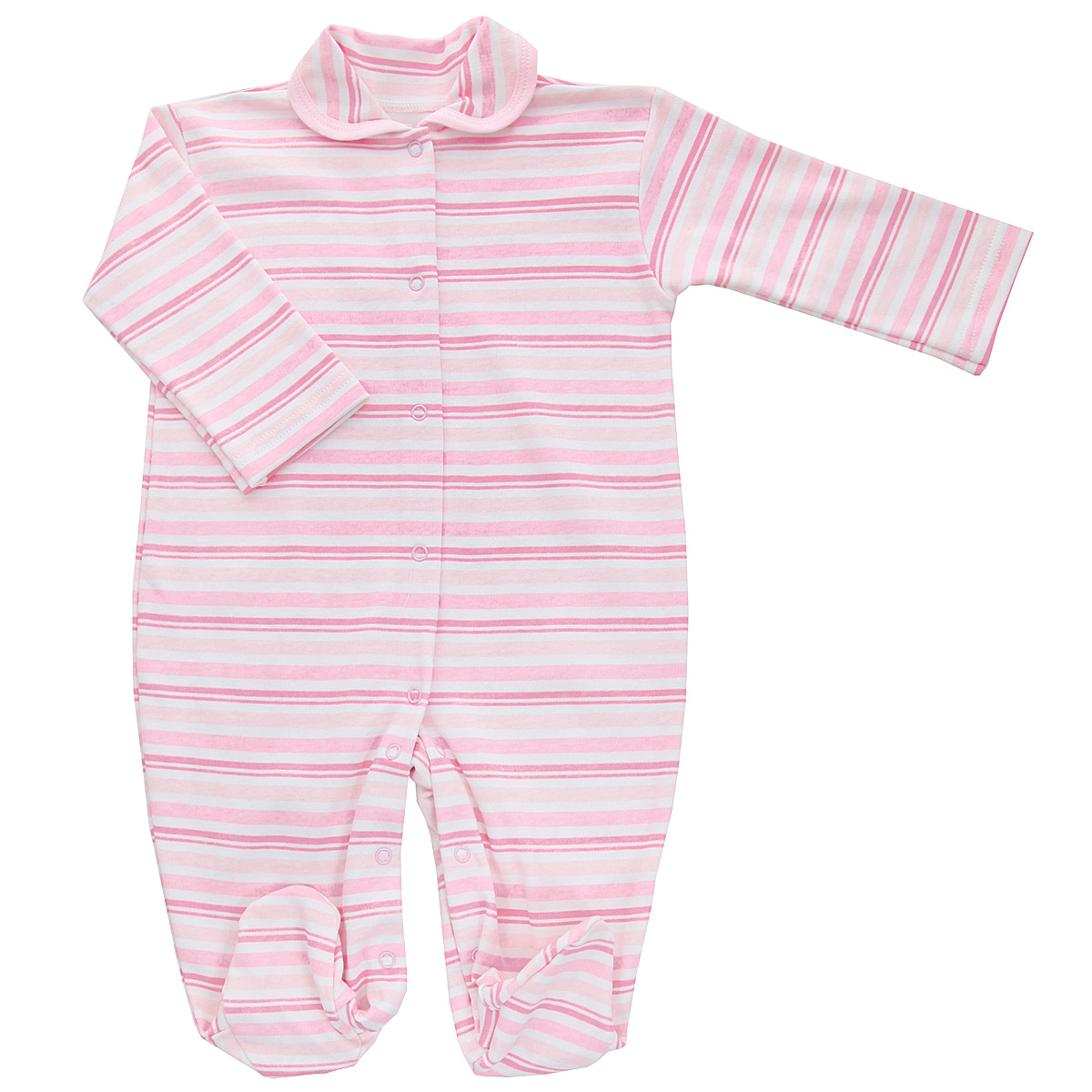 Комбинезон детский Трон-плюс, цвет: розовый, белый. 5815_полоска. Размер 56, 1 месяц5815_полоскаДетский комбинезон Трон-Плюс - очень удобный и практичный вид одежды для малышей. Комбинезон выполнен из интерлока - натурального хлопка, благодаря чему он необычайно мягкий и приятный на ощупь, не раздражает нежную кожу ребенка, и хорошо вентилируются, а эластичные швы приятны телу младенца и не препятствуют его движениям. Комбинезон с длинными рукавами, закрытыми ножками и отложным воротничком имеет застежки-кнопки от горловины до щиколоток, которые помогают легко переодеть ребенка или сменить подгузник. Воротник по краю дополнен контрастной бейкой. Оформлено изделие принтом в полоску. С детским комбинезоном спинка и ножки вашего крохи всегда будут в тепле, он идеален для использования днем и незаменим ночью. Комбинезон полностью соответствует особенностям жизни младенца в ранний период, не стесняя и не ограничивая его в движениях!