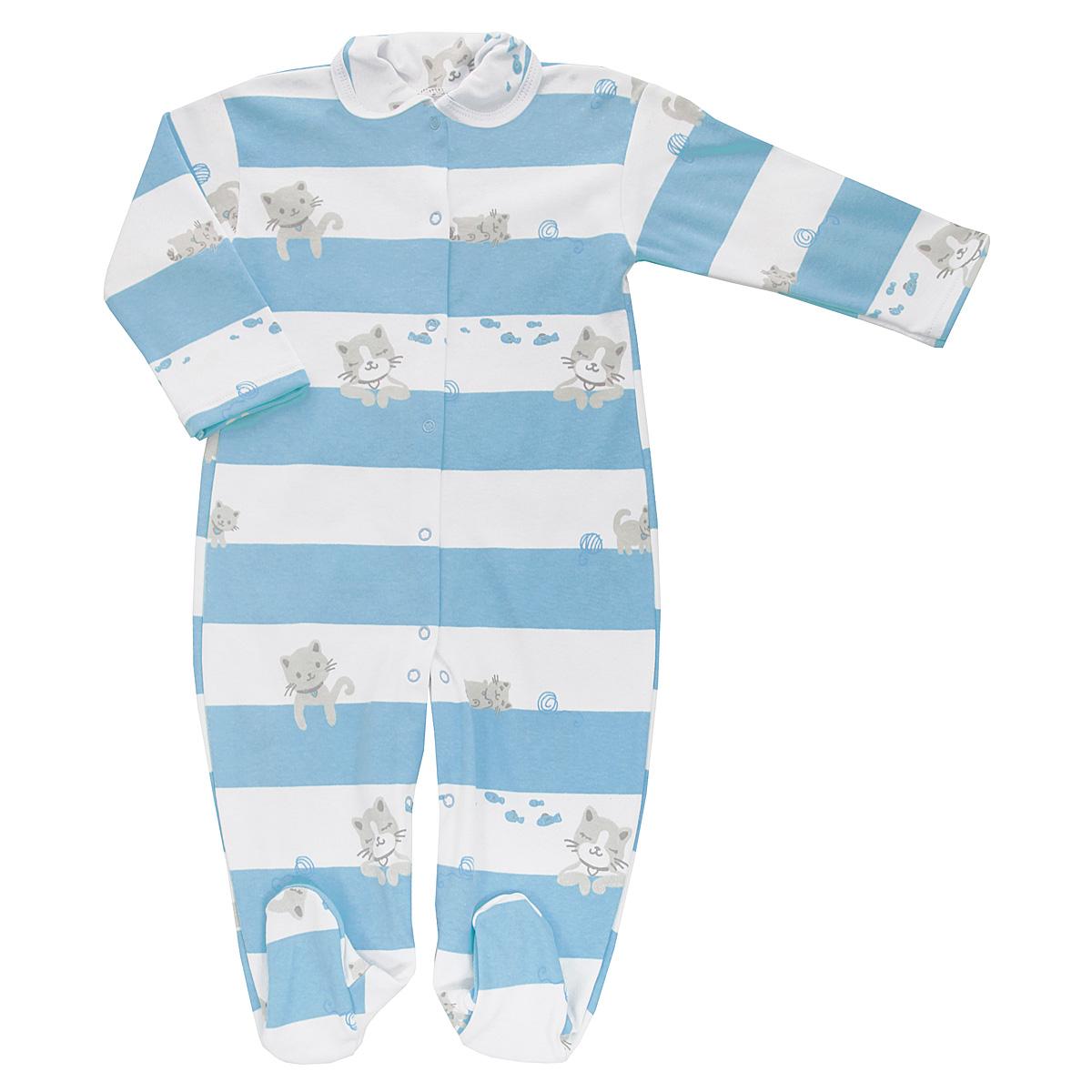 Комбинезон детский Трон-плюс, цвет: белый, голубой. 5815_котенок, полоска. Размер 80, 12 месяцев комбинезон детский трон плюс цвет белый голубой 5815 горох размер 80 12 месяцев