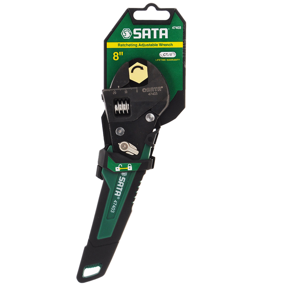 Разводной ключ SATA 4740347403Разводной ключ Sata с реверсивно-трещоточным механизмом предназначен для работы с резьбовыми соединениями. Оснащен рукояткой с полимерным покрытием, которая обеспечивает надежный удобный хват. Особенности: Движущая часть ключа позволяет захватывать любые грани размером до 24 мм. Лазерная гравировка делений метрических и дюймовых. Плавный трещоточный механизм очень легок в использовании. Выключатель трещоточного механизма позволяет использовать ключ как обычный разводной ключ. Уникальный дизайн и специальное противоскользящее покрытие рукоятки обеспечивают максимальный комфорт для руки любого размера. Полностью соответствует спецификации американского института стандартов (ANSI). Максимальный размер раскрытия зева (максимальный развод губок): 25 мм.Толщина губок зева: 14,5 мм.