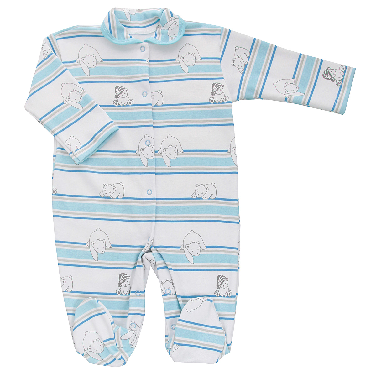 Комбинезон детский Трон-плюс, цвет: белый, голубой. 5815_мишка, полоска. Размер 74, 9 месяцев5815_мишка, полоскаДетский комбинезон Трон-Плюс - очень удобный и практичный вид одежды для малышей. Комбинезон выполнен из интерлока - натурального хлопка, благодаря чему он необычайно мягкий и приятный на ощупь, не раздражает нежную кожу ребенка, и хорошо вентилируются, а эластичные швы приятны телу младенца и не препятствуют его движениям. Комбинезон с длинными рукавами, закрытыми ножками и отложным воротничком имеет застежки-кнопки от горловины до щиколоток, которые помогают легко переодеть ребенка или сменить подгузник. Воротник по краю дополнен контрастной бейкой. Оформлено изделие принтом в полоску, а также изображениями медвежат. С детским комбинезоном спинка и ножки вашего крохи всегда будут в тепле, он идеален для использования днем и незаменим ночью. Комбинезон полностью соответствует особенностям жизни младенца в ранний период, не стесняя и не ограничивая его в движениях!