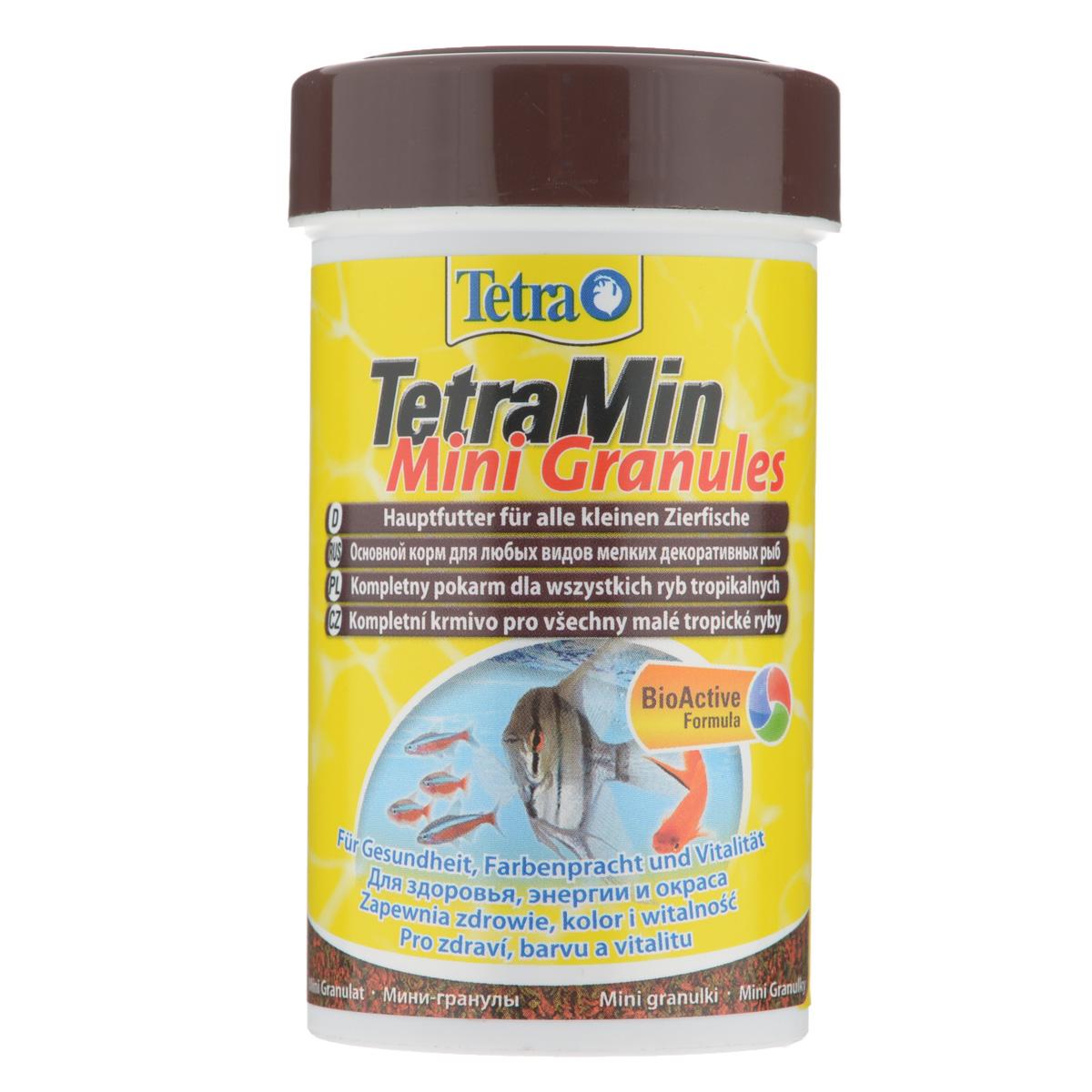 Корм сухой TetraMin Mini Granules для всех видов мелких декоративных рыб, в виде мини-гранул, 100 мл корм tetra tetramin xl flakes complete food for larger tropical fish крупные хлопья для больших тропических рыб 10л 769946