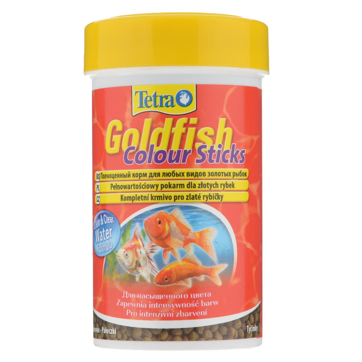 Корм сухой Tetra Goldfish Colour Sticks для любых видов золотых рыбок, в виде палочек, 100 мл140097Корм Tetra Goldfish Colour Sticks - это высококачественный сбалансированный питательный корм для любых видов золотых рыбок. Превосходное качество корма - гарантия лучшего для ваших золотых рыбок. Особенности Tetra Goldfish Colour Sticks:усилители цвета обеспечивают яркую и интенсивную окраску,формула Clean & Clean Water и запатентованная формула BioActive - для поддержания здоровья и продолжительности жизни. Рекомендации по кормлению: кормить несколько раз в день маленькими порциями. Характеристики: Состав: рыба и побочные рыбные продукты, экстракты растительного белка, зерновые культуры, растительные продукты, овощи, дрожжи, моллюски и раки, масла и жиры, водоросли (спирулина максима 6,0%), минеральные вещества.Пищевая ценность: сырой белок - 30%, сырые масла и жиры - 6%, сырая клетчатка - 2,0%, влага - 8%.Добавки: витамины, провитамины и химические вещества с аналогичным воздействием: витамин А 30000 МЕ/кг, витамин Д3 1870 МЕ/кг. Комбинации элементов: Е5 Марганец 81 мг/кг, Е6 Цинк 48 мг/кг, Е1 Железо 32 мг/кг, Е3 Кобальт 0,6 мг/кг. Красители, консерванты, антиоксиданты. Вес: 100 мл (30 г).
