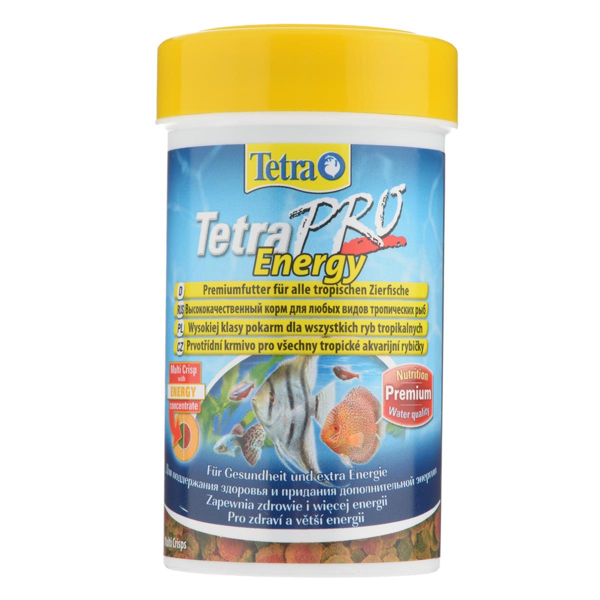 Корм сухой Tetra TetraPro. Energy для всех видов тропических рыб , чипсы, 100 мл (20 г)141711Полноценный высококачественный корм Tetra TetraPro. Energy для всех видов тропических рыб разработан для поддержания здоровья и придания дополнительной энергии. Особенности Tetra TetraPro. Energy:- щадящая низкотемпературная технология изготовления обеспечивает высокую питательную ценность и стабильность витаминов;- энергетический концентрат для дополнительной энергии;- инновационная форма чипсов для минимального загрязнения воды отходами; - легкое кормление. Рекомендации по кормлению: кормить несколько раз в день маленькими порциями. Состав: рыба и побочные рыбные продукты, зерновые культуры, экстракты растительного белка, дрожжи, моллюски и раки, масла и жиры, водоросли, сахар.Аналитические компоненты: сырой белок - 46%, сырые масла и жиры - 12%, сырая клетчатка - 2,0%, влага - 9%.Добавки: витамины, провитамины и химические вещества с аналогичным воздействием: витамин А 29880 МЕ/кг, витамин Д3 1865 МЕ/кг, Л-карнитин 123 мг/кг. Комбинации элементов: Е5 Марганец 67 мг/кг, Е6 Цинк 40 мг/кг, Е1 Железо 26 мг/кг, Е3 Кобальт 0,6 мг/кг. Красители, консерванты, антиоксиданты. Товар сертифицирован.