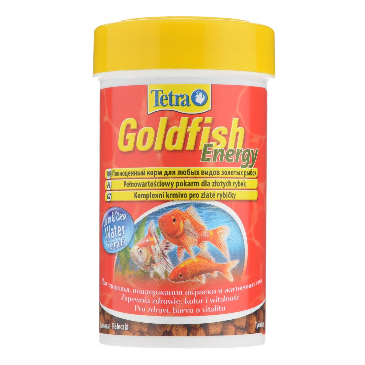 Корм Tetra Goldfish Energy для любых видов золотых рыбок, в виде палочек, 34 г/100 мл761117Корм Tetra Goldfish Energy - это высококачественный сбалансированный питательный корм для любых видов золотых рыбок. Особенности Tetra Goldfish Energy: оптимальное содержание жиров придает дополнительную энергию,формула Clean & Clean Water и запатентованная формула BioActive - для поддержания здоровья и продолжительности жизни. Рекомендации по кормлению: кормить несколько раз в день маленькими порциями. Характеристики: Состав: рыба и побочные рыбные продукты, экстракты растительного белка, зерновые культуры, растительные продукты, дрожжи, моллюски и раки, масла и жиры, минеральные вещества.Пищевая ценность: сырой белок - 38%, сырые масла и жиры - 9%, сырая клетчатка - 2,0%, влага - 7%.Добавки: витамины, провитамины и химические вещества с аналогичным воздействием: витамин А 28800 МЕ/кг, витамин Д3 1800 МЕ/кг. Комбинации элементов: Е5 Марганец 81 мг/кг, Е6 Цинк 48 мг/кг, Е1 Железо 32 мг/кг. Красители, антиоксиданты. Вес: 100 мл (34 г).Товар сертифицирован.