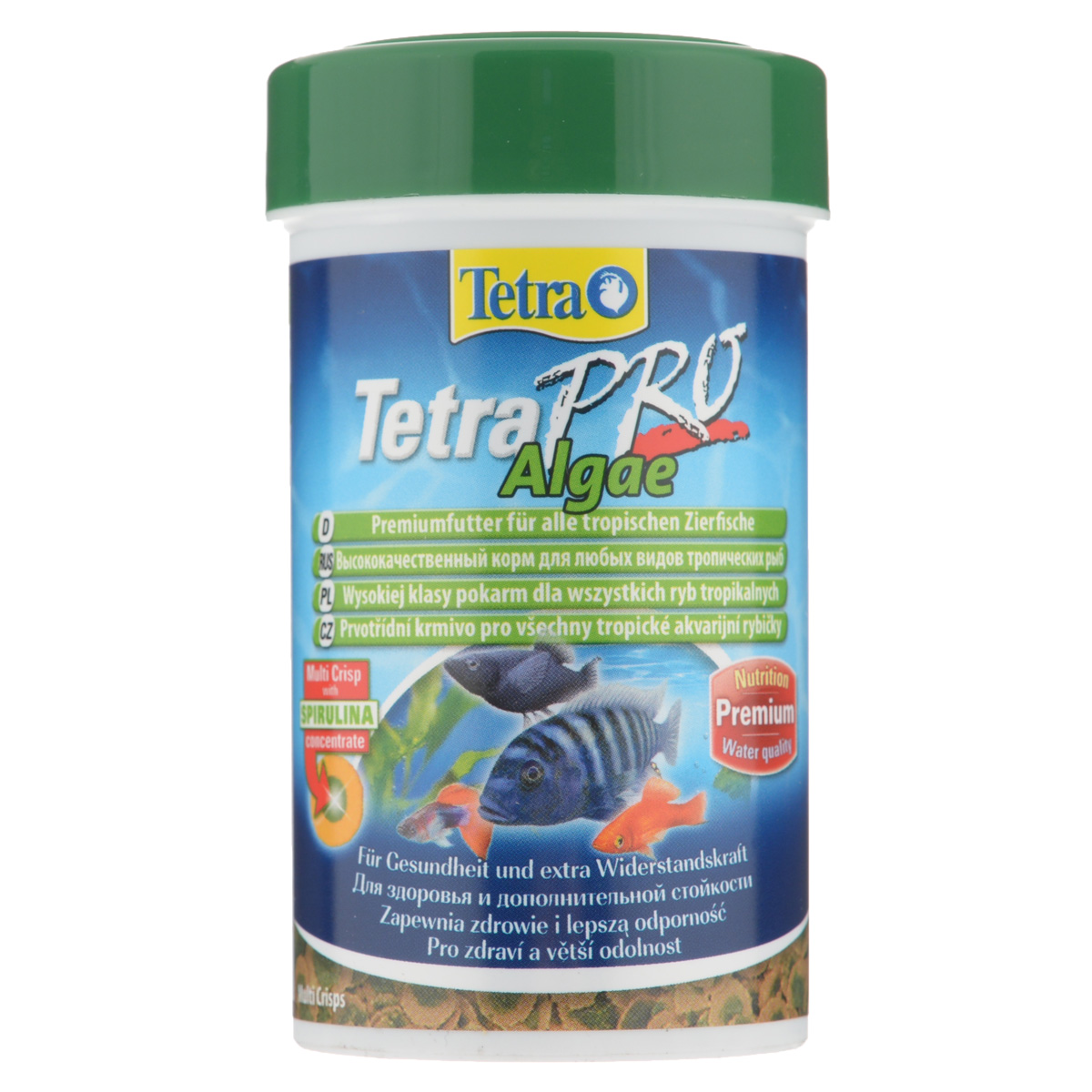 Корм сухой Tetra TetraPro. Algae для всех видов тропических рыб, чипсы, 100 мл (18 г)138988Полноценный высококачественный корм Tetra TetraPro. Algae для всех видов тропических рыб разработан для поддержания здоровья и придания дополнительной стойкости. Особенности Tetra TetraPro. Algae: - щадящая низкотемпературная технология изготовления для высокой питательной ценности и стабильности витаминов;- концентрат спирулина для повышения сопротивляемости организма;- инновационная форма чипсов для минимального загрязнения воды;- идеально подходит для растительноядных рыб;- легкое кормление.Рекомендации по кормлению: кормить несколько раз в день маленькими порциями.Состав: рыба и побочные рыбные продукты, зерновые культуры, экстракты растительного белка, дрожжи, моллюски и раки, масла и жиры, водоросли (спирулина 1%).Аналитические компоненты: сырой белок - 46%, сырые масла и жиры - 12%, сырая клетчатка - 3%, влага - 9%.Добавки: витамины, провитамины и химические вещества с аналогичным воздействием, витамин А 29810 МЕ/кг, витамин Д3 1860 МЕ/кг, Л-карнитин 123 мг/кг. Комбинации элементов: Е5 Марганец 67 мг/кг, Е6 Цинк 40 мг/кг, Е1 Железо 26 мг/кг. Красители, консерванты, антиоксиданты.Товар сертифицирован.