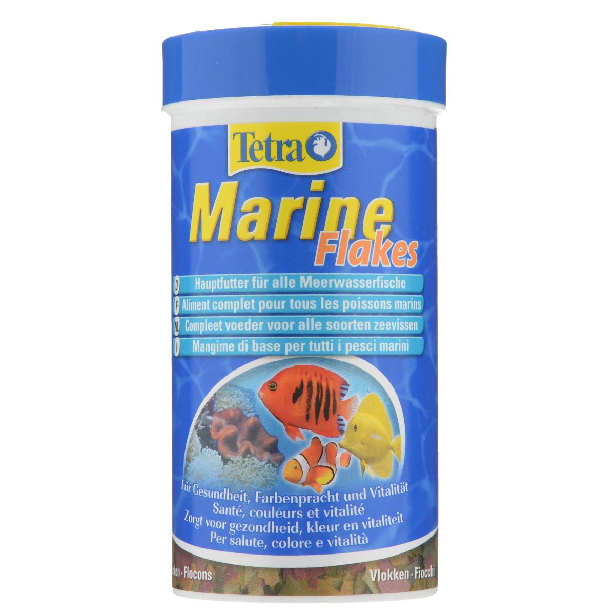 Корм Tetra Marine Flakes для любых морских рыб, в виде в хлопьев, 250 мл корм tetra tetramin xl flakes complete food for larger tropical fish крупные хлопья для больших тропических рыб 10л 769946