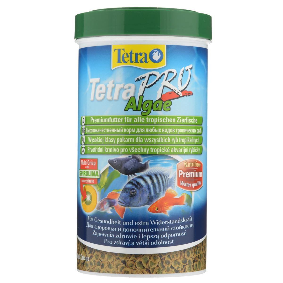 Корм сухой Tetra TetraPro. Algae для всех видов тропических рыб, чипсы, 500 мл (95 г) корм tetra tetrapro colour crisps premium food for all tropical fish чипсы усиление окраски для всех видов тропических рыб 10л 140516
