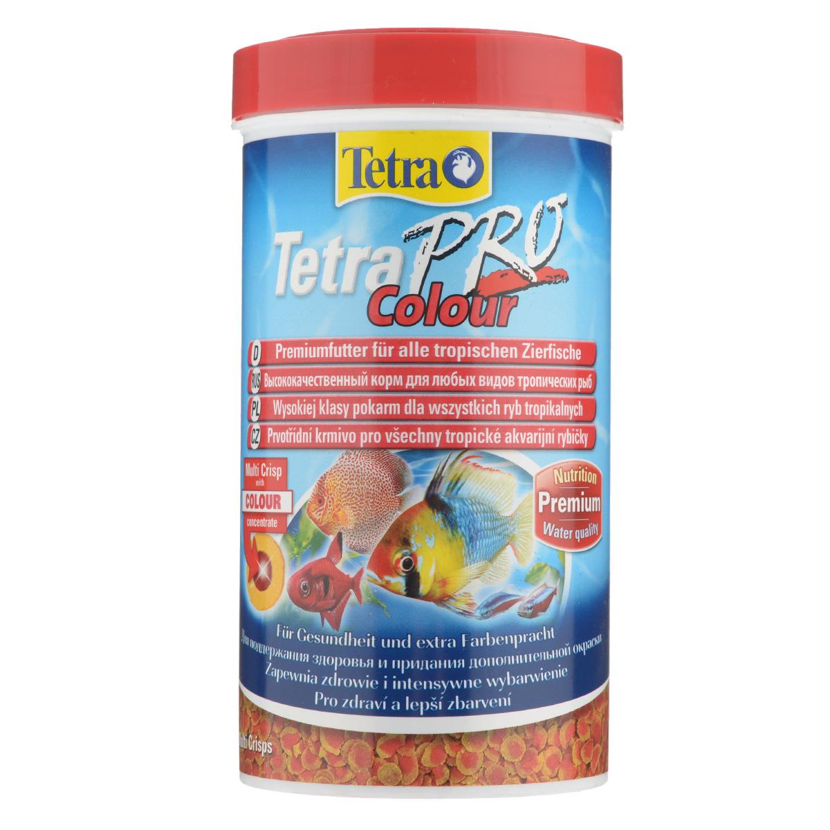 Корм сухой Tetra TetraPro. Colour для всех видов тропических рыб, чипсы, 500 мл (110 г) корм tetra tetrapro colour crisps premium food for all tropical fish чипсы усиление окраски для всех видов тропических рыб 10л 140516