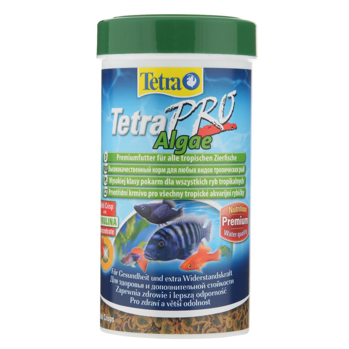 Полноценный_высококачественный_корм_Tetra_~TetraPro._Algae~_для_всех_видов_тропических_рыб_разработан_для_поддержания_здоровья_и_придания_дополнительной_стойкости._Особенности_Tetra_~TetraPro._Algae~:_-_щадящая_низкотемпературная_технология_изготовления_для_высокой_питательной_ценности_и_стабильности_витаминов;-_концентрат_спирулина_для_повышения_сопротивляемости_организма;-_инновационная_форма_чипсов_для_минимального_загрязнения_воды;-_идеально_подходит_для_растительноядных_рыб;-_легкое_кормление.__Рекомендации_по_кормлению:_кормить_несколько_раз_в_день_маленькими_порциями.Состав:_рыба_и_побочные_рыбные_продукты,_зерновые_культуры,_экстракты_растительного_белка,_дрожжи,_моллюски_и_раки,_масла_и_жиры,_водоросли_(спирулина_1%25).Аналитические_компоненты:_сырой_белок_-_46%25,_сырые_масла_и_жиры_-_12%25,_сырая_клетчатка_-_3%25,_влага_-_9%25.Добавки:_витамины,_провитамины_и_химические_вещества_с_аналогичным_воздействием,_витамин_А_29810_МЕ/кг,_витамин_Д3_1860_МЕ/кг,_Л-карнитин_123_мг/кг._Комбинации_элементов:_Е5_Марганец_67_мг/кг,_Е6_Цинк_40_мг/кг,_Е1_Железо_26_мг/кг._Красители,_консерванты,_антиоксиданты.Товар_сертифицирован.