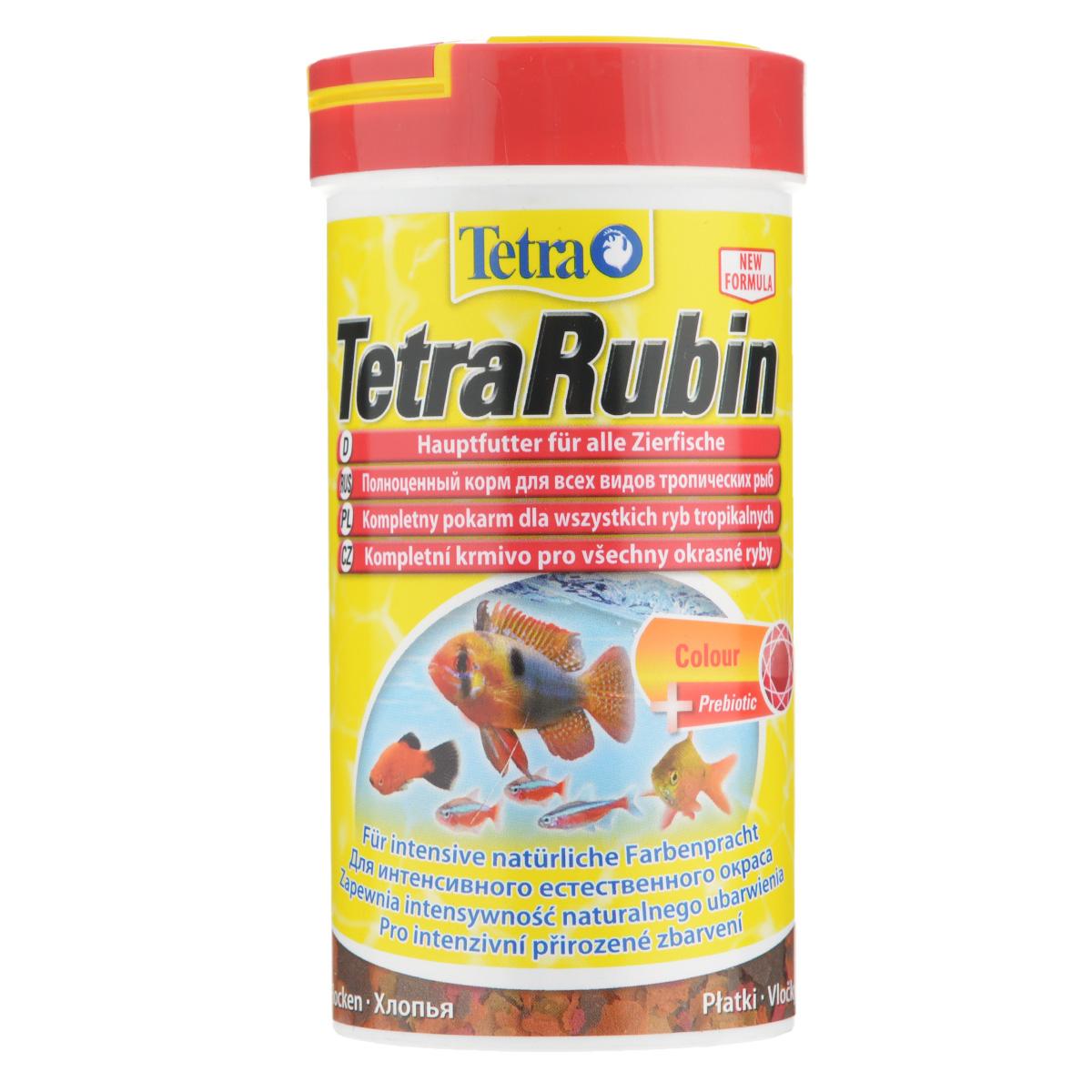 Корм TetraRubin для всех видов аквариумных тропических рыб, в виде хлопьев, 250 корм сухой tetramin pro crisps для всех видов тропических рыб в виде чипсов 100 мл