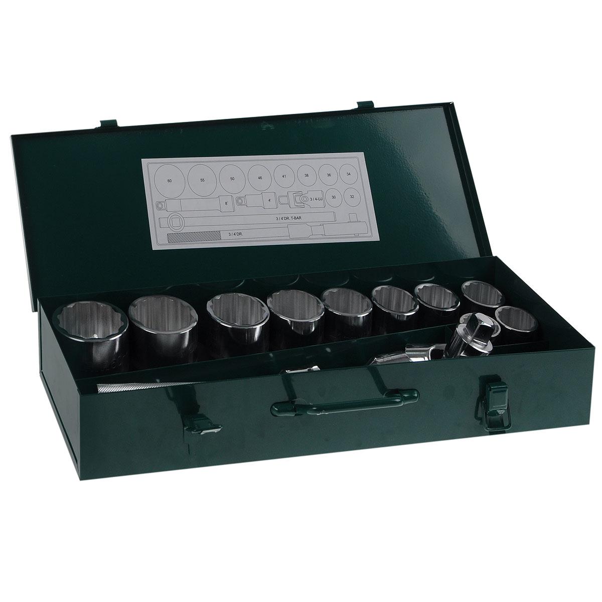 Набор торцевых головок SATA 15пр. 0901509015Набор инструментов Sata предназначен для монтажа/демонтажа резьбовых соединений. Все инструменты в наборе выполнены из высококачественной хромованадиевой стали. Металлический кейс для переноски и хранения Состав набора: Головки торцевые (12 граней): 30 мм, 32 мм, 34 мм, 36 мм, 38 мм, 41 мм, 46 мм, 50 мм, 55 мм, 60 мм. Быстросъемная храповая рукоятка 3/4. Вороток со скользящей перекладиной 3/4. Удлинители длиной 4 дюйма и 8 дюймов Карданный шарнир.