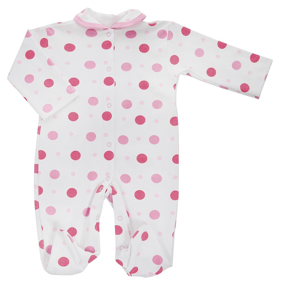 Комбинезон детский Трон-плюс, цвет: белый, розовый. 5815_горох. Размер 74, 9 месяцев5815_горохДетский комбинезон Трон-Плюс - очень удобный и практичный вид одежды для малышей. Комбинезон выполнен из интерлока - натурального хлопка, благодаря чему он необычайно мягкий и приятный на ощупь, не раздражает нежную кожу ребенка, и хорошо вентилируются, а эластичные швы приятны телу младенца и не препятствуют его движениям. Комбинезон с длинными рукавами, закрытыми ножками и отложным воротничком имеет застежки-кнопки от горловины до щиколоток, которые помогают легко переодеть ребенка или сменить подгузник. Воротник по краю дополнен контрастной бейкой. Оформлено изделие ненавязчивым гороховым принтом. С детским комбинезоном спинка и ножки вашего крохи всегда будут в тепле, он идеален для использования днем и незаменим ночью. Комбинезон полностью соответствует особенностям жизни младенца в ранний период, не стесняя и не ограничивая его в движениях!