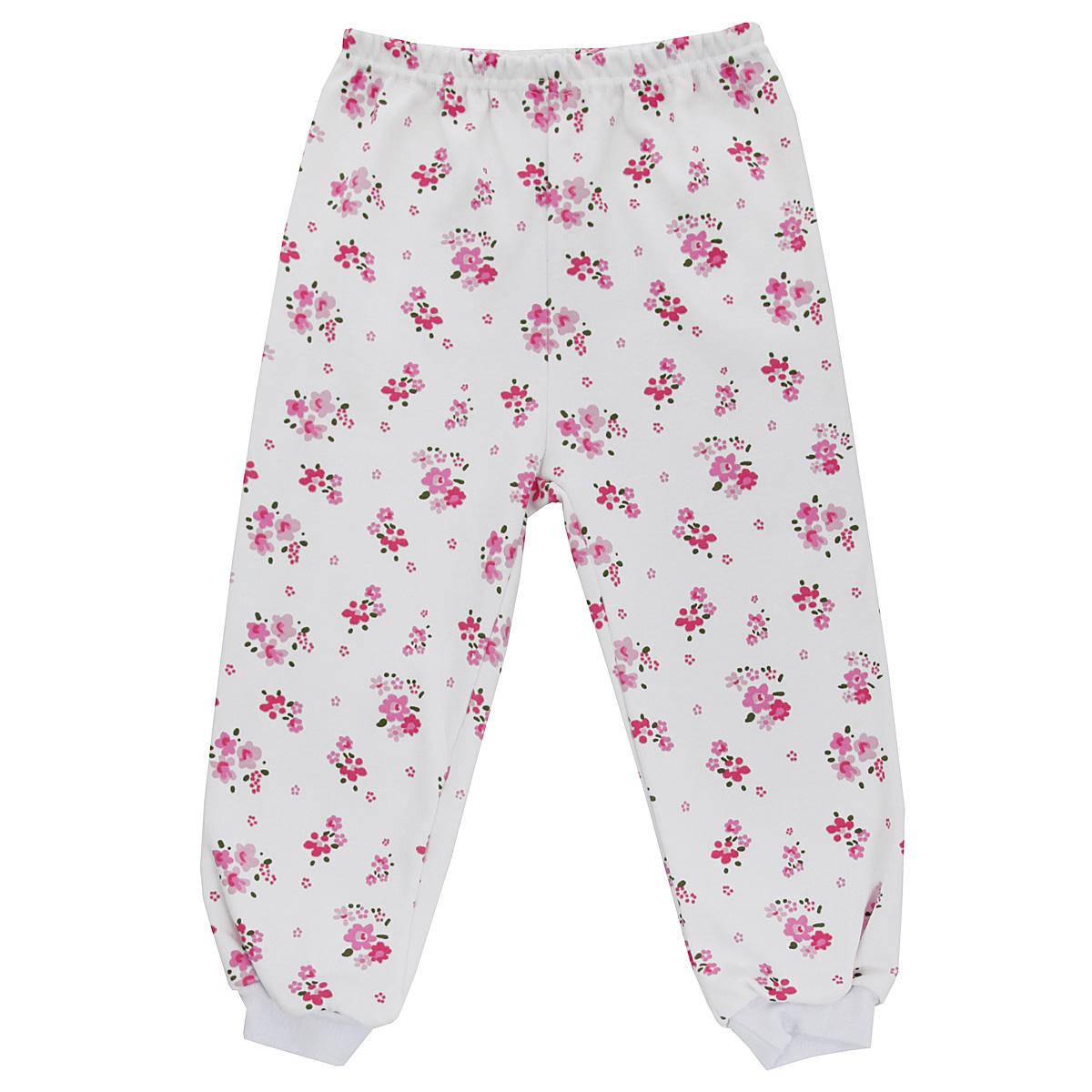 Штанишки для девочки Трон-плюс, цвет: белый, розовый. 5315_цветы. Размер 74, 9 месяцев5315_цветыУдобные штанишки для девочки Трон-плюс идеально подойдут вашей малышке и станут отличным дополнением к детскому гардеробу. Изготовленные из натурального хлопка - интерлока, они необычайно мягкие и легкие, не сковывают движения, позволяют коже дышать и не раздражают даже самую нежную и чувствительную кожу ребенка. Штанишки на талии имеют эластичную резинку, благодаря чему они не сдавливают животик ребенка и не сползают. Низ штанишек дополнен широкими эластичными манжетами. Оформлена модель ненавязчивым цветочным принтом. В таких штанишках ваша дочурка будет чувствовать себя комфортно и уютно.