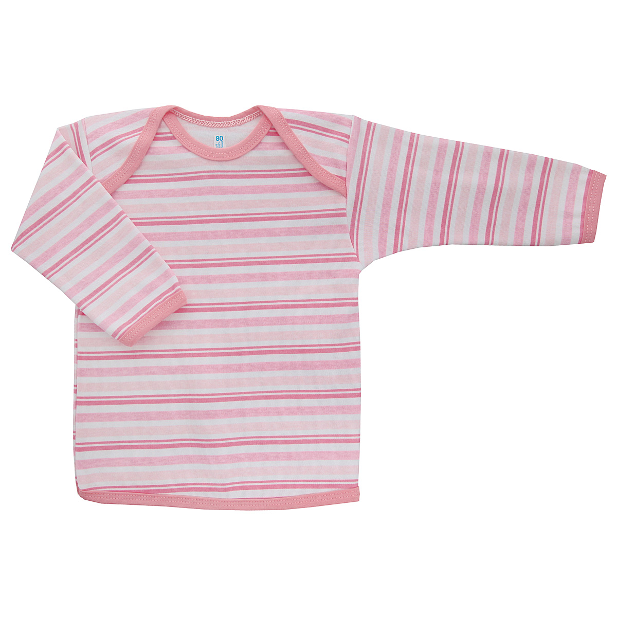 Футболка с длинным рукавом детская Трон-плюс, цвет: розовый, белый. 5611_полоска. Размер 80, 12 месяцев