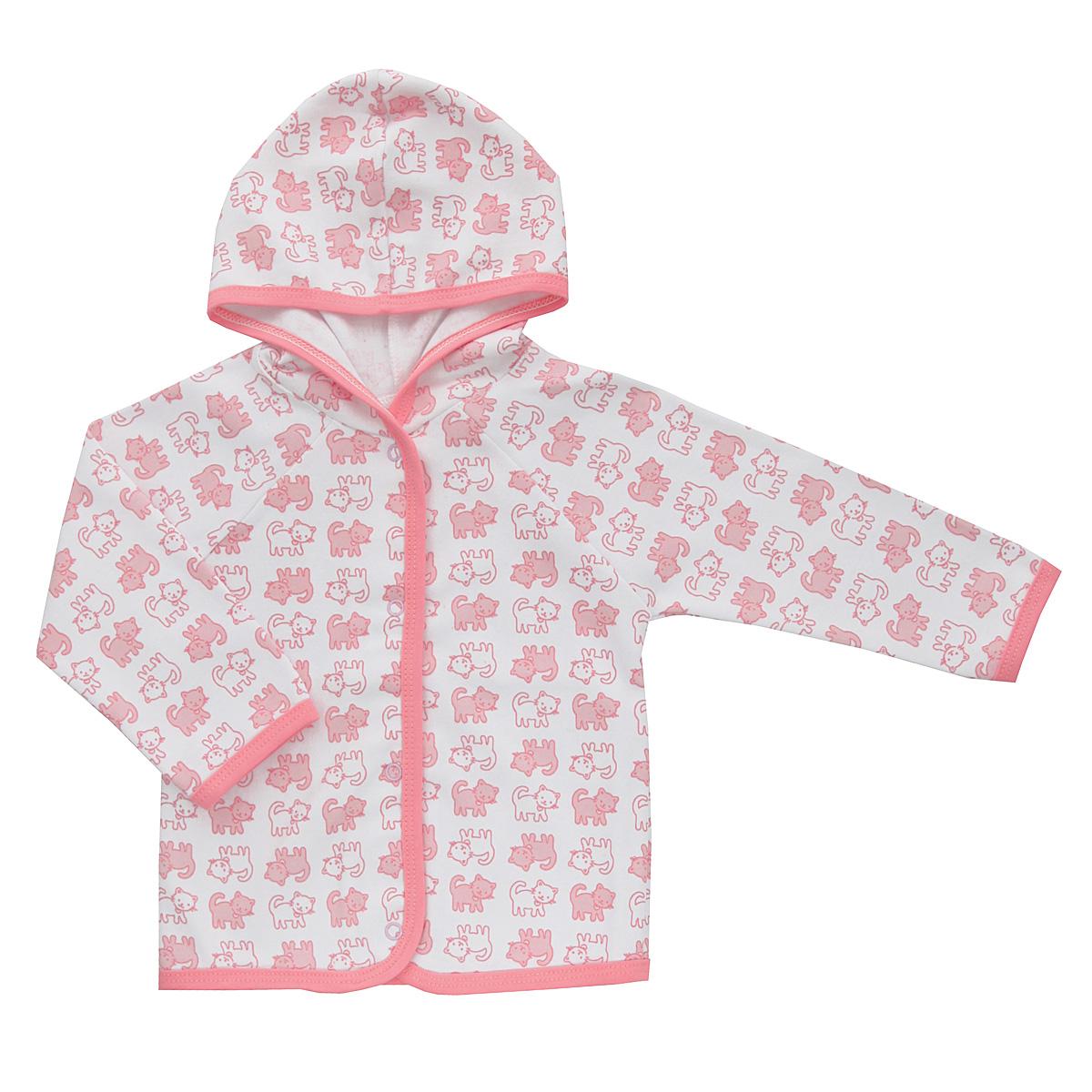 Кофточка Трон-плюс, цвет: белый, розовый. 5162_котенок. Размер 56, 1 месяц5162_котенокУдобная детская кофточка Трон-плюс послужит идеальным дополнением к гардеробу вашего ребенка, обеспечивая ему наибольший комфорт. Изготовленная из интерлока - натурального хлопка, она необычайно мягкая и легкая, не раздражает нежную кожу ребенка и хорошо вентилируется, а эластичные швы приятны телу ребенка и не препятствуют его движениям. Кофточка с капюшоном и длинными рукавами-реглан застегивается спереди на удобные застежки-кнопки, что помогает с легкостью переодеть ребенка. Окантовка капюшона, низ рукавов, планка и низ модели дополнены контрастной трикотажной бейкой. Оформлено изделие ненавязчивым принтом с изображениями котенка. Кофточка полностью соответствует особенностям жизни ребенка в ранний период, не стесняя и не ограничивая его в движениях.