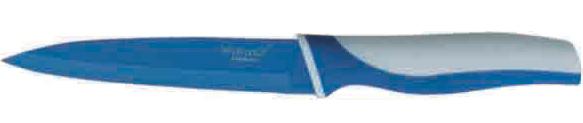 Нож универсальный Winner, цвет: голубой, белый, длина лезвия 12,5 см. WR-7209WR-7209Универсальный нож Winner выполнен из высококачественной нержавеющей стали с цветным полимерным покрытием Xynflon, предотвращающим прилипание продуктов. Очень удобная и эргономичная ручка выполнена из прорезиненного пластика с антибактериальным покрытием Zeomic.Нож применяется для нарезки фруктов, сыра и приготовления бутербродов.Нож помогает поддерживать идеальную гигиену на кухне. Zeomic обеспечивает постоянную противомикробную защиту, позволят сохранить нож в чистоте в течение длительного периода времени после мытья, подавляет бактерии, которые способствуют появлению загрязнения и неприятного запаха, гнили и плесени в течение всего времени использования изделия. Универсальный нож Winner предоставит вам все необходимые возможности в успешном приготовлении пищи и порадует вас своими результатами.К ножу прилагаются пластиковые ножны. Общая длина ножа: 23,2 см. Длина лезвия: 12,5 см. Толщина лезвия: 1,2 мм.