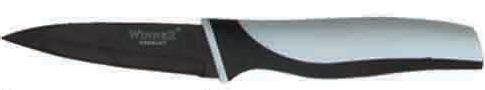 """Нож для очистки """"Winner"""" выполнен из высококачественной нержавеющей стали с цветным  полимерным покрытием """"Xynflon"""", предотвращающим прилипание продуктов. Очень удобная и  эргономичная ручка выполнена из прорезиненного пластика с антибактериальным покрытием  """"Zeomic"""".  Нож используется для чистки овощей и фруктов, приготовления гарниров и  салатов. Также применяется для отделения костей в птице или рыбе.  Нож помогает поддерживать идеальную гигиену на кухне. """"Zeomic"""" обеспечивает постоянную  противомикробную защиту, позволят сохранить нож в чистоте в течение длительного периода  времени после мытья, подавляет бактерии, которые способствуют появлению загрязнения и  неприятного запаха, гнили и плесени в течение всего времени использования изделия.  Нож для очистки """"Winner"""" предоставит вам все необходимые возможности в успешном  приготовлении пищи и порадует вас своими результатами.К ножу прилагаются  пластиковые ножны.  Общая длина ножа: 19,4 см.  Длина лезвия: 8,7 см.  Толщина лезвия: 1,2 мм."""