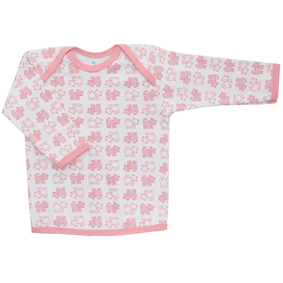 Футболка с длинным рукавом детская Трон-плюс, цвет: белый, розовый. 5611_котенок. Размер 74, 9 месяцев5611_котенокУдобная детская футболка Трон-плюс с длинными рукавами послужит идеальным дополнением к гардеробу вашего ребенка, обеспечивая ему наибольший комфорт. Изготовленная из интерлока - натурального хлопка, она необычайно мягкая и легкая, не раздражает нежную кожу ребенка и хорошо вентилируется, а эластичные швы приятны телу ребенка и не препятствуют его движениям. Удобные запахи на плечах помогают легко переодеть младенца. Горловина, низ модели и низ рукавов дополнены трикотажной бейкой. Спинка модели незначительно укорочена. Оформлено изделие принтом с изображениями котенка. Футболка полностью соответствует особенностям жизни ребенка в ранний период, не стесняя и не ограничивая его в движениях.