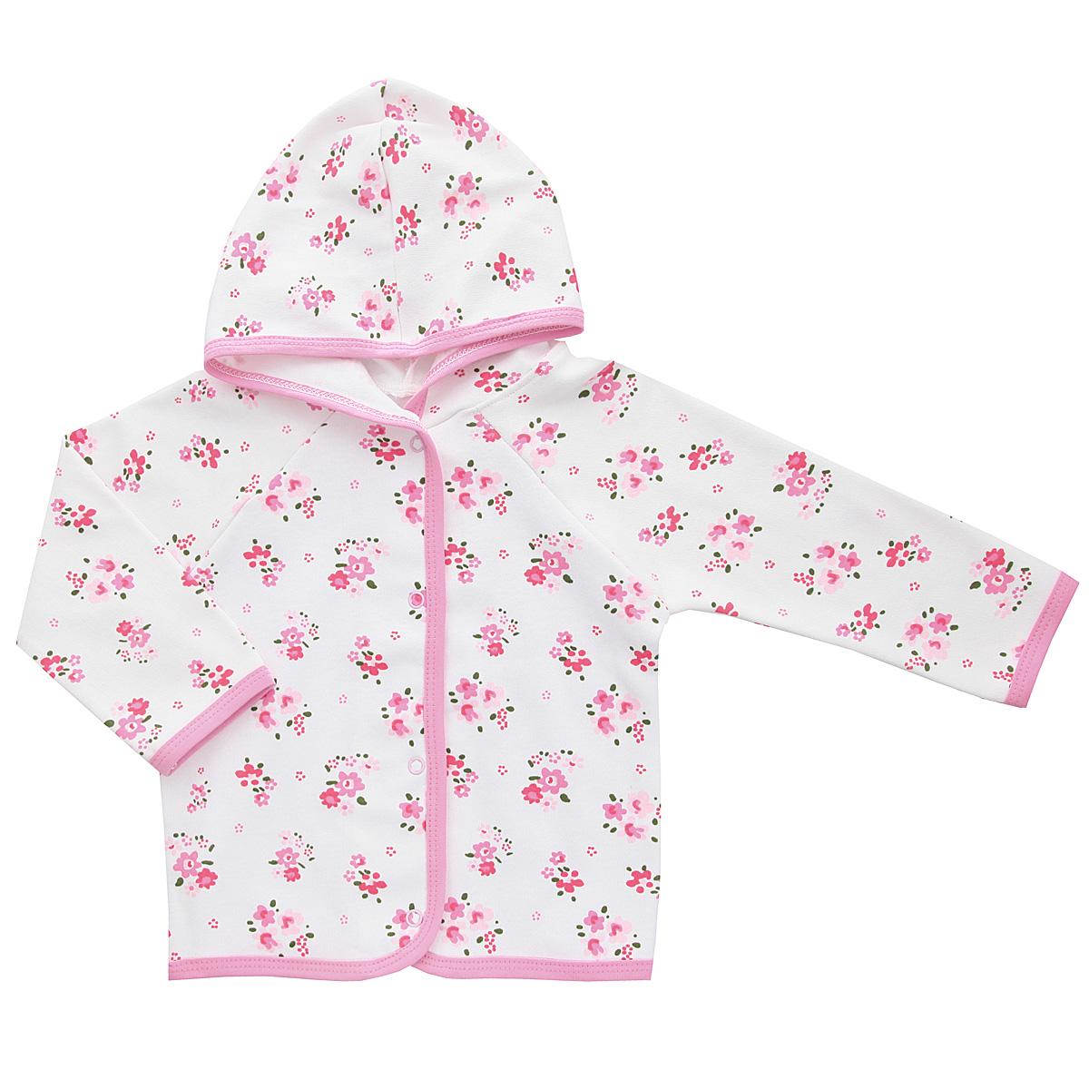Кофточка для девочки Трон-плюс, цвет: белый, розовый. 5162_цветы. Размер 80, 12 месяцев5162_цветыУдобная кофточка для девочки Трон-плюс послужит идеальным дополнением к гардеробу вашей малышки, обеспечивая ему наибольший комфорт. Изготовленная из интерлока - натурального хлопка, она необычайно мягкая и легкая, не раздражает нежную кожу ребенка и хорошо вентилируется, а эластичные швы приятны телу ребенка и не препятствуют его движениям. Кофточка с капюшоном и длинными рукавами-реглан застегивается спереди на удобные застежки-кнопки, что помогает с легкостью переодеть ребенка. Окантовка капюшона, низ рукавов, планка и низ модели дополнены контрастной трикотажной бейкой. Оформлено изделие цветочным принтом. Кофточка полностью соответствует особенностям жизни ребенка в ранний период, не стесняя и не ограничивая его в движениях.
