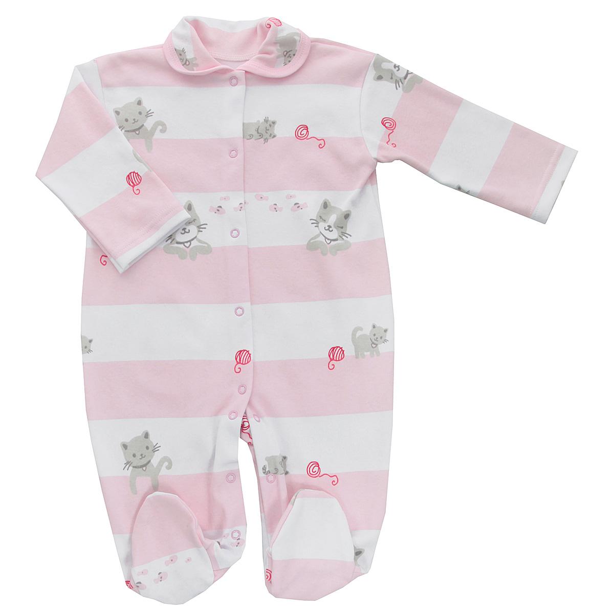 Комбинезон детский Трон-плюс, цвет: белый, розовый. 5815_котенок, полоска. Размер 68, 6 месяцев5815_котенок, полоскаДетский комбинезон Трон-Плюс - очень удобный и практичный вид одежды для малышей. Комбинезон выполнен из интерлока - натурального хлопка, благодаря чему он необычайно мягкий и приятный на ощупь, не раздражает нежную кожу ребенка, и хорошо вентилируются, а эластичные швы приятны телу младенца и не препятствуют его движениям. Комбинезон с длинными рукавами, закрытыми ножками и отложным воротничком имеет застежки-кнопки от горловины до щиколоток, которые помогают легко переодеть ребенка или сменить подгузник. Воротник по краю дополнен контрастной бейкой. Оформлено изделие принтом в полоску, а также изображениями котят. С детским комбинезоном спинка и ножки вашего крохи всегда будут в тепле, он идеален для использования днем и незаменим ночью. Комбинезон полностью соответствует особенностям жизни младенца в ранний период, не стесняя и не ограничивая его в движениях!