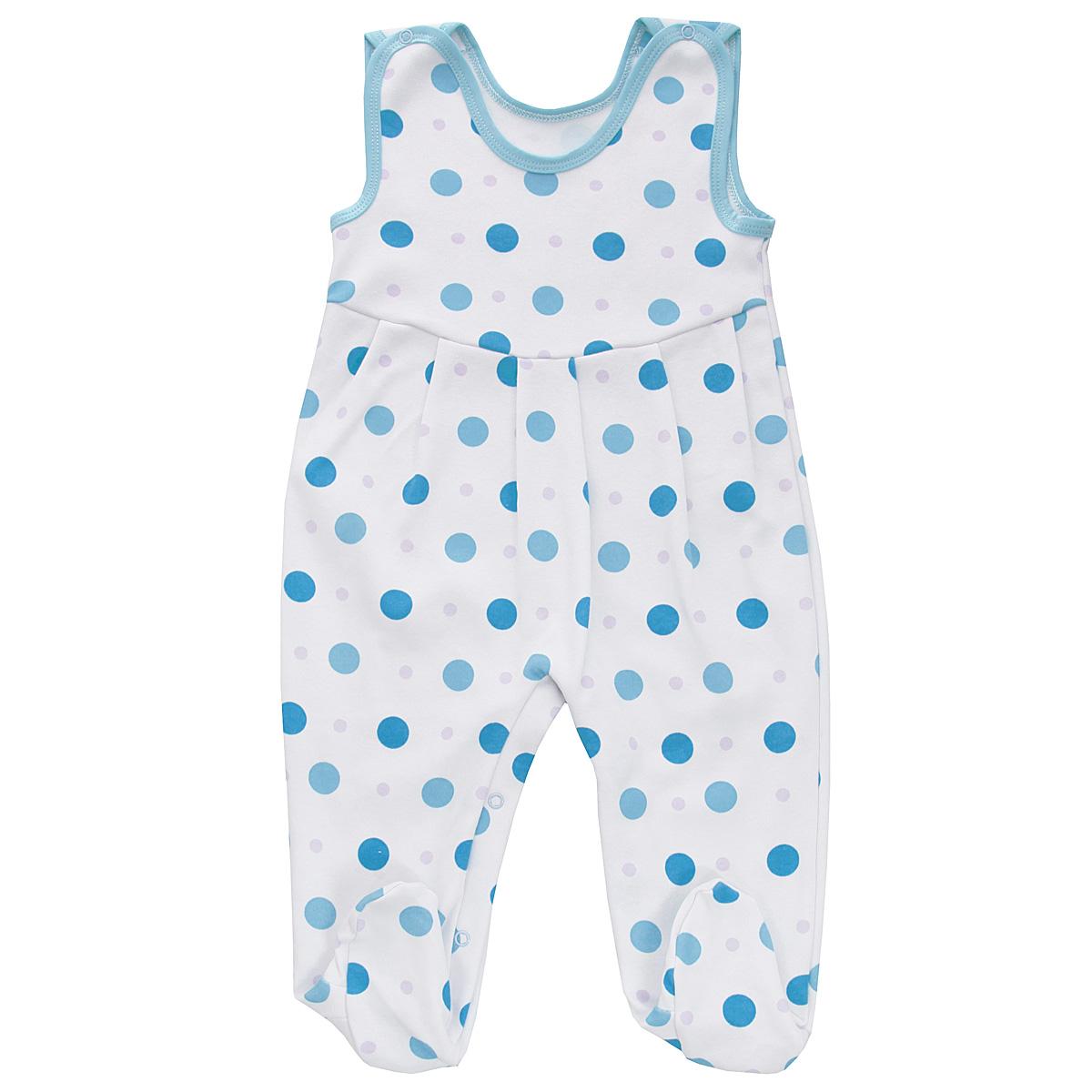 Ползунки с грудкой Трон-плюс, цвет: белый, голубой. 5247_горох. Размер 74, 9 месяцев ползунки трикотажные на 0 9 месяцев