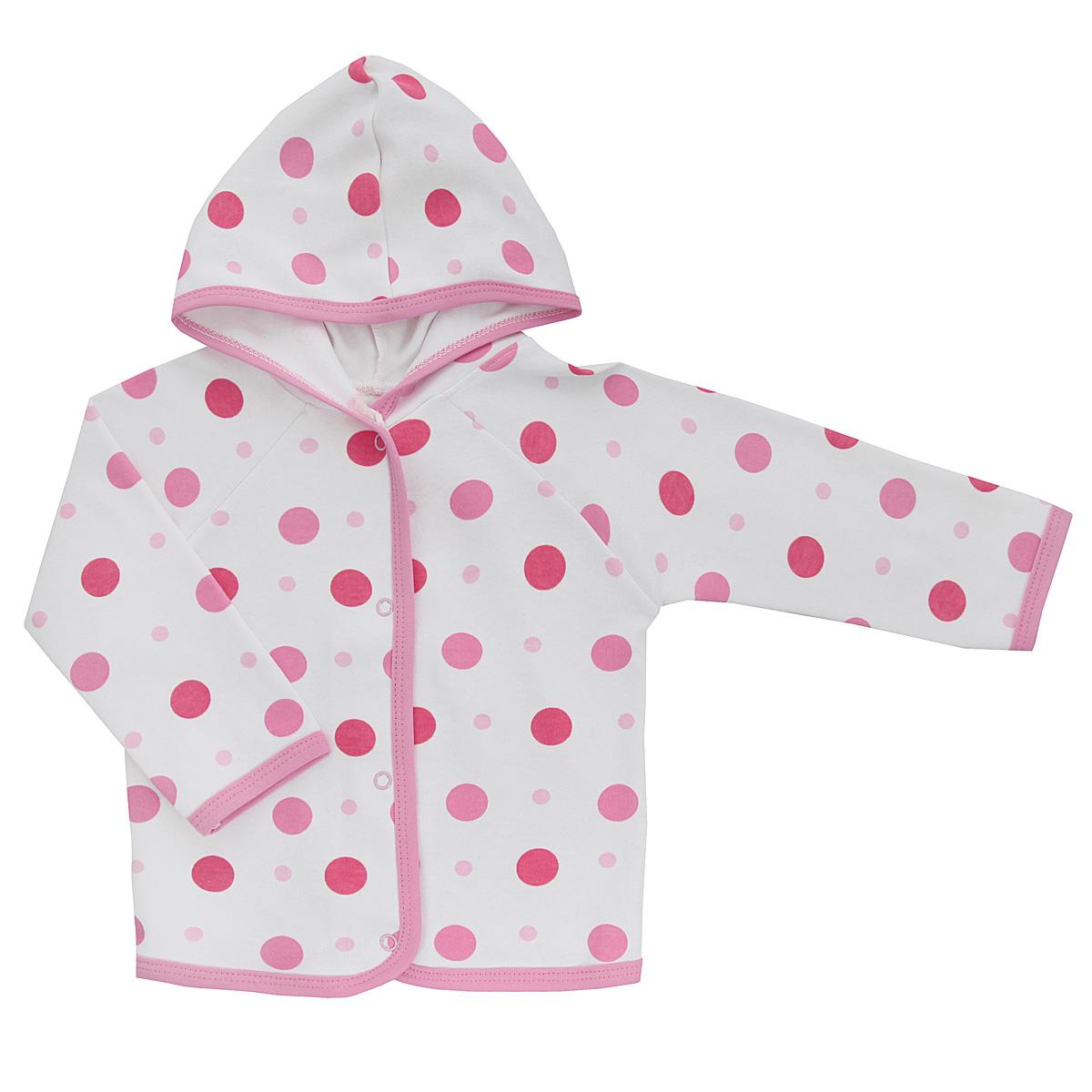Кофточка Трон-плюс, цвет: белый, розовый. 5162_горох. Размер 74, 9 месяцев5162_горохУдобная детская кофточка Трон-плюс послужит идеальным дополнением к гардеробу вашего ребенка, обеспечивая ему наибольший комфорт. Изготовленная из интерлока - натурального хлопка, она необычайно мягкая и легкая, не раздражает нежную кожу ребенка и хорошо вентилируется, а эластичные швы приятны телу ребенка и не препятствуют его движениям. Кофточка с капюшоном и длинными рукавами-реглан застегивается спереди на удобные застежки-кнопки, что помогает с легкостью переодеть ребенка. Окантовка капюшона, низ рукавов, планка и низ модели дополнены контрастной трикотажной бейкой. Оформлено изделие ненавязчивым принтом с изображениями котенка. Кофточка полностью соответствует особенностям жизни ребенка в ранний период, не стесняя и не ограничивая его в движениях.