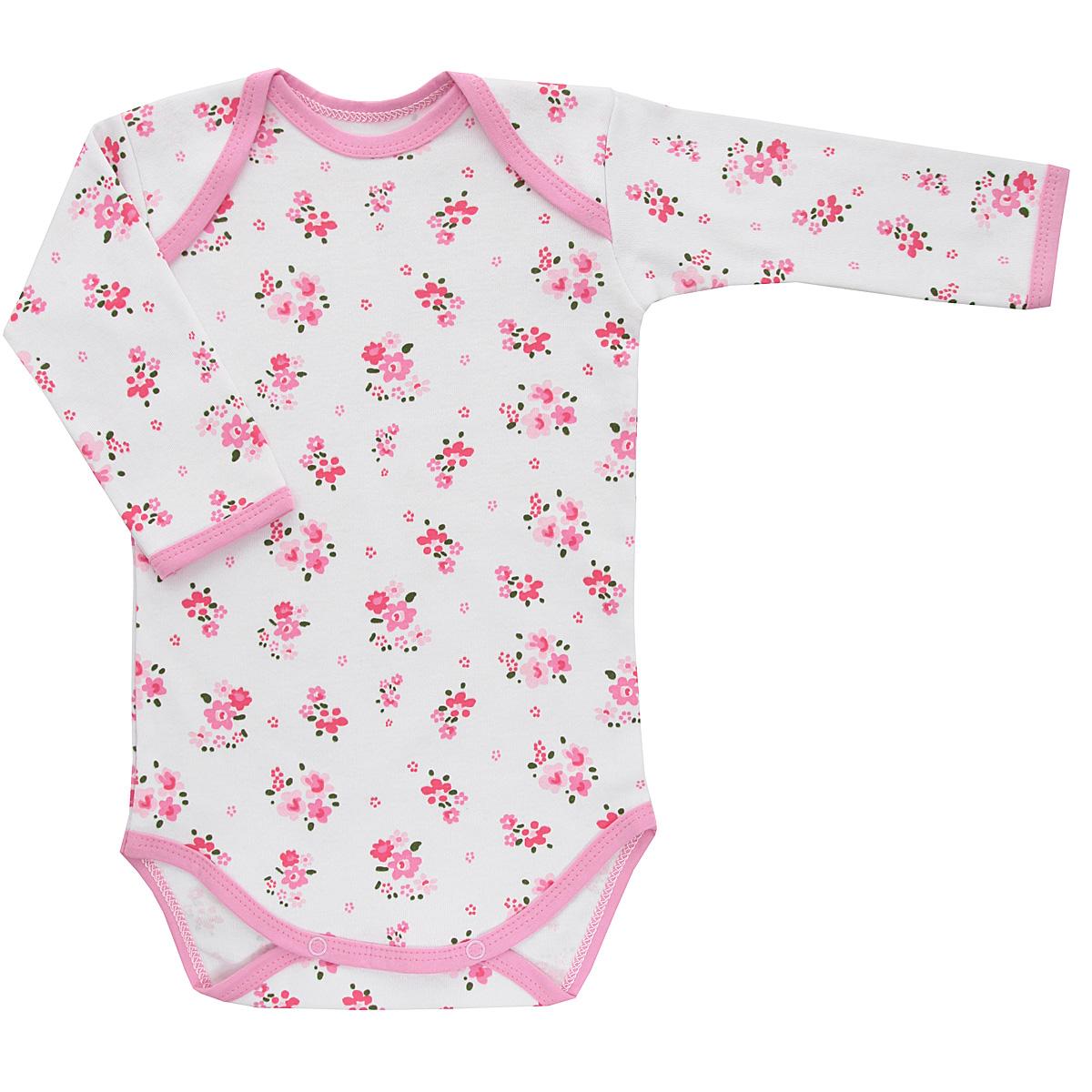 Боди для девочки Трон-плюс, цвет: белый, розовый. 5871_цветы. Размер 80, 12 месяцев