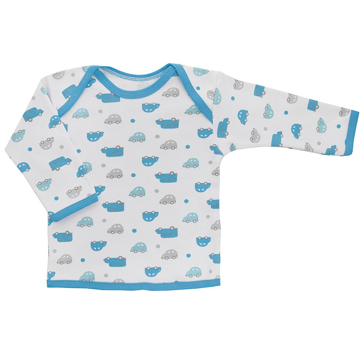 Футболка с длинным рукавом для мальчика Трон-плюс, цвет: белый, голубой. 5611_машинки. Размер 86, 18 месяцев5611_машинкиУдобная футболка для мальчика Трон-плюс с длинными рукавами послужит идеальным дополнением к гардеробу вашего ребенка, обеспечивая ему наибольший комфорт. Изготовленная из интерлока - натурального хлопка, она необычайно мягкая и легкая, не раздражает нежную кожу ребенка и хорошо вентилируется, а эластичные швы приятны телу ребенка и не препятствуют его движениям. Удобные запахи на плечах помогают легко переодеть младенца. Горловина, низ модели и низ рукавов дополнены трикотажной бейкой. Спинка модели незначительно укорочена. Оформлено изделие принтом с изображениями машинок. Футболка полностью соответствует особенностям жизни ребенка в ранний период, не стесняя и не ограничивая его в движениях.