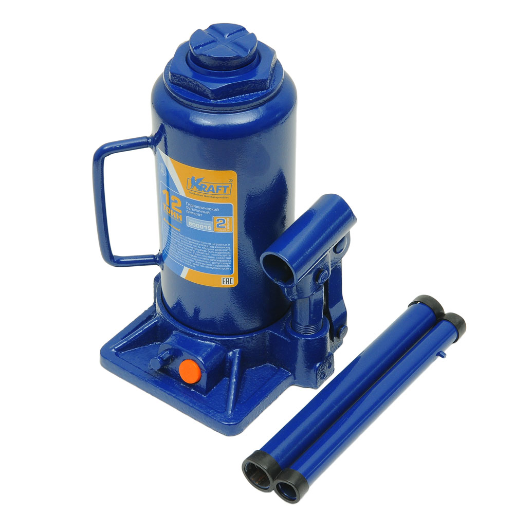 Домкрат бутылочный Kraft КТ 800019, 12 тКТ 800019Гидравлический бутылочный домкрат Kraft предназначен для поднятия грузов. Отличается компактностью конструкции, простотой обслуживания и надежностью в эксплуатации, позволяя осуществить плавный подъем груза и его точную остановку на заданной высоте при небольшом рабочем усилии. Домкрат имеет предохранительный клапан, который в случае неправильной эксплуатации (масса поднимаемого груза будет больше грузоподъемности конкретной модели) сработает и плавно опустит груз.Технические характеристики:Грузоподъемность: 12 т.Высота подъема: 470 мм.Высота подхвата: 230 мм.Функциональные особенности:Высокая устойчивость.Выдвижной винт.Складная рукоятка.Предохранительный клапан.Удобная ручка.Морозостойкое масло (-45°C).Комплектация:Механический бутылочный домкрат.Рукоятка домкрата.Руководство по эксплуатации.
