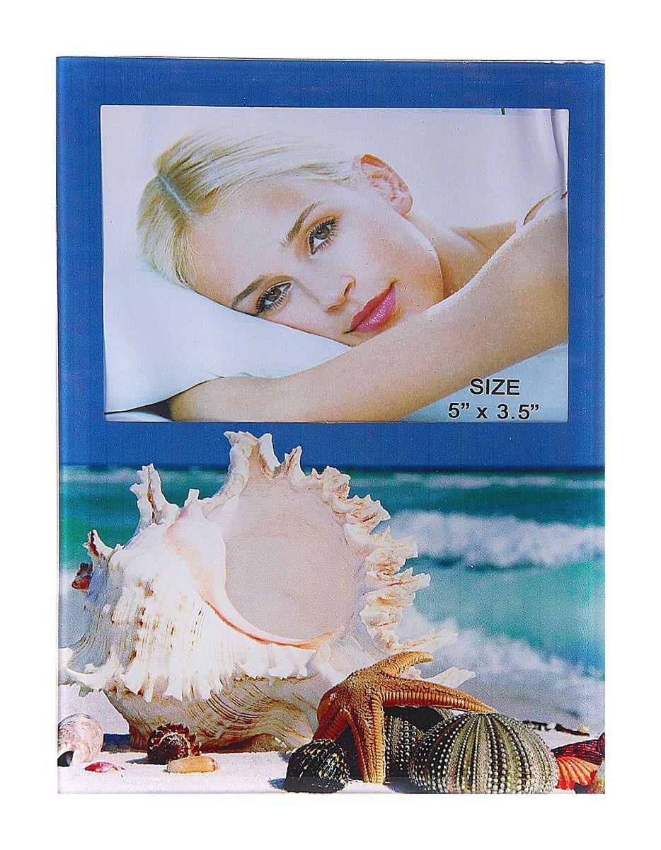 Фоторамка Sima-land Морские ракушки, цвет: белый, голубой, 9 х 13 см фоторамка sima land леопард 9 х 13 см 803946