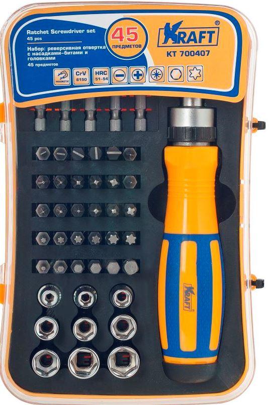 Набор инструментов Kraft Professional, 45 предметовКТ700407Набор инструментов Kraft Professional предназначен для обслуживания резьбовых соединений в широком диапазоне размеров. Все инструменты в наборе выполнены из высококачественной хромованадиевой стали. Твердость по Роквеллу составляет 51-54 HRc.Состав набора:Отвертка реверсивная.Биты шлицевые: SL3, SL4, SL5, SL6, SL7.Биты Philips: PH0, 2 x PH1, 2 x PH2, PH3.Биты Pozidriv: 2 x PZ0, 2 x PZ1, 2 x PZ2, PZ3.Биты Torx: T10, T15, T20, T25, T27, T30.Биты Hex: H2, H3, H4, H5, H6.Удлинитель: 25 мм.Биты удлиненные: SL6, SL7, PH1, PH2, PH3.Торцевые головки: 4 мм, 5 мм, 6 мм, 7 мм, 8 мм, 9 мм, 10 мм, 11 мм, 12 мм.