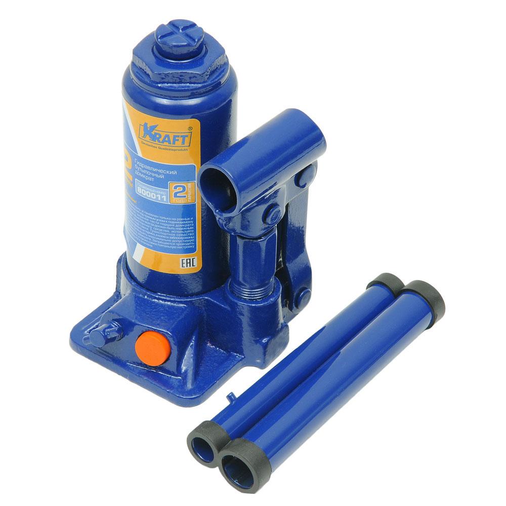 Домкрат бутылочный Kraft КТ 800011, 2 тКТ 800011Гидравлический бутылочный домкрат Kraft предназначен для поднятия грузов. Отличается компактностью конструкции, простотой обслуживания и надежностью в эксплуатации, позволяя осуществить плавный подъем груза и его точную остановку на заданной высоте при небольшом рабочем усилии. Домкрат имеет предохранительный клапан, который в случае неправильной эксплуатации (масса поднимаемого груза будет больше грузоподъемности конкретной модели) сработает и плавно опустит груз.Технические характеристики: Грузоподъемность: 2 т.Высота подъема: 310 мм.Высота подхвата: 160 мм.Функциональные особенности:Высокая устойчивость.Выдвижной винт.Складная рукоятка.Предохранительный клапан.Удобная ручка.Морозостойкое масло (-45°C).Комплектация:Механический бутылочный домкрат.Рукоятка домкрата.Руководство по эксплуатации.