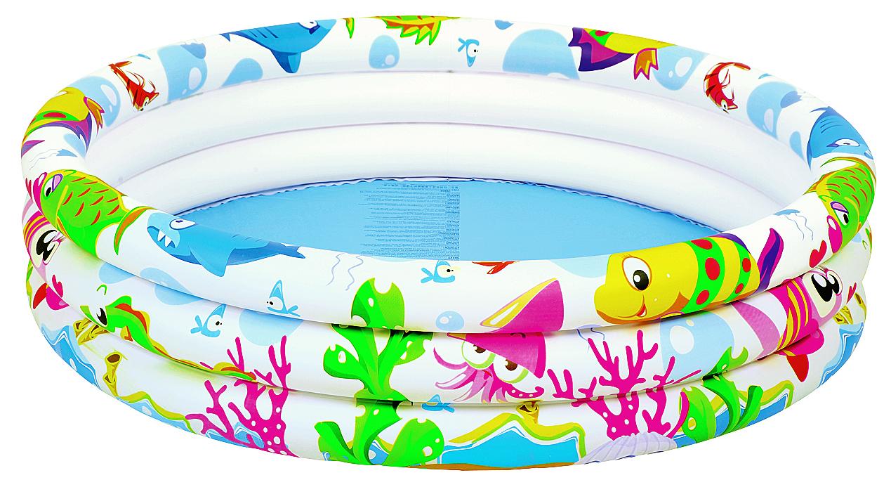 """Круглый надувной бассейн Jilong """"Sea World"""" предназначен подойдет для детского и семейного отдыха на загородном участке. Отлично подойдет для детей от 2 до 6 лет. Бассейн изготовлен из прочного ПВХ. Состоит из 3 колец одинакового размера. На внешней стороне имеется принт.Комфортный дизайн бассейна и приятная цветовая гамма сделают его не только незаменимым атрибутом летнего отдыха, но и оригинальным дополнением ландшафтного дизайна участка. В комплект с бассейном входит заплатка для ремонта в случае прокола."""