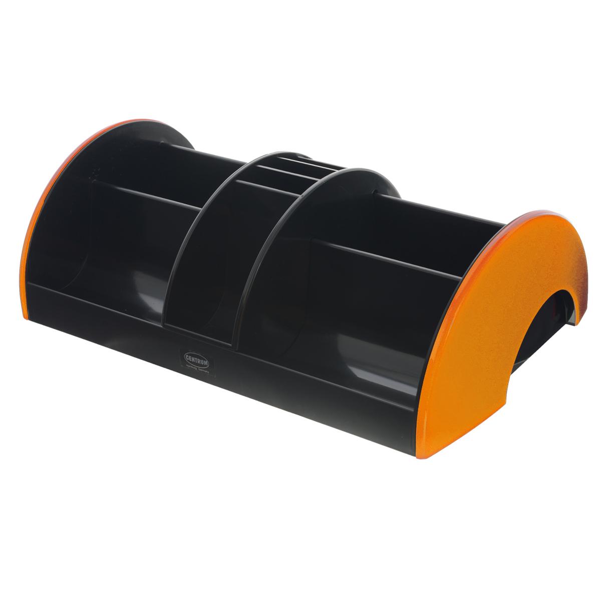 Подставка настольная Centrum, цвет: черный, оранжевый83902_оранжПодставка Centrum - незаменимый атрибут рабочего стола. Она выполнена из высококачественного пластика и содержит 3 отделения для пишущих принадлежностей, линеек, ластиков, блоков для заметок.Подставка оснащена съемной секцией с подвижным механизмом, благодаря которой вы сможете регулировать ее рабочее пространство. Съемная секция имеет 5 отделений. Разместив ее на подставке, вы получите 11 отделений.Настольная подставка Centrum призвана не только сохранить письменные принадлежности в порядке, но и разнообразить привычную обстановку рабочего стола.