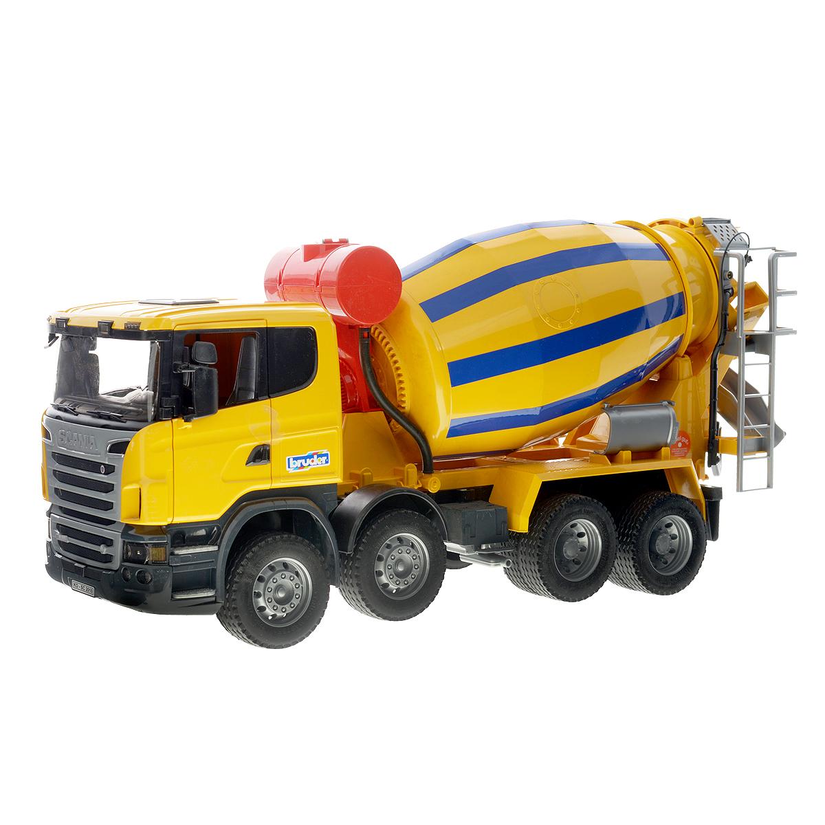 Bruder Бетономешалка Scania, цвет: желтый, синий bruder пожарная машина scania с 3 лет