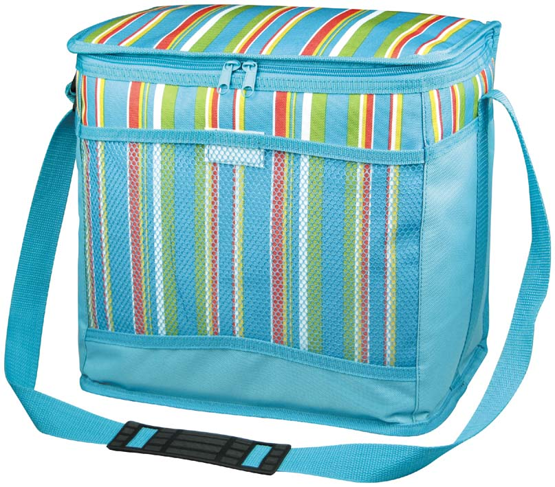 Термосумка Green Glade, цвет: голубой, 15 л. P2015P2015Изотермическая сумка Green Glade пригодится на любом пикнике. Изнутри термосумка отделана специальным теплоизолирующим материалом, способным надолго сохранить холод, даже в жару. Сохранение температурного режима до 12 часов. Снаружи сумка изготовлена из плотного полиэстера с принтом в разноцветную вертикальную полоску. Подходит для хранения и напитков, и пищи. Имеет одно основное отделение, закрывающееся на молнию. Спереди есть сетчатый кармашек на липучке для хранения столовых приборов и салфеток. Для удобной переноски сумка оснащена плечевым ремнем. Сумка идеально подходит для отдыха на природе, пикников, туристических походов и путешествий. Объем: 15 л. Размер сумки: 31 см х 17 см х 28 см.