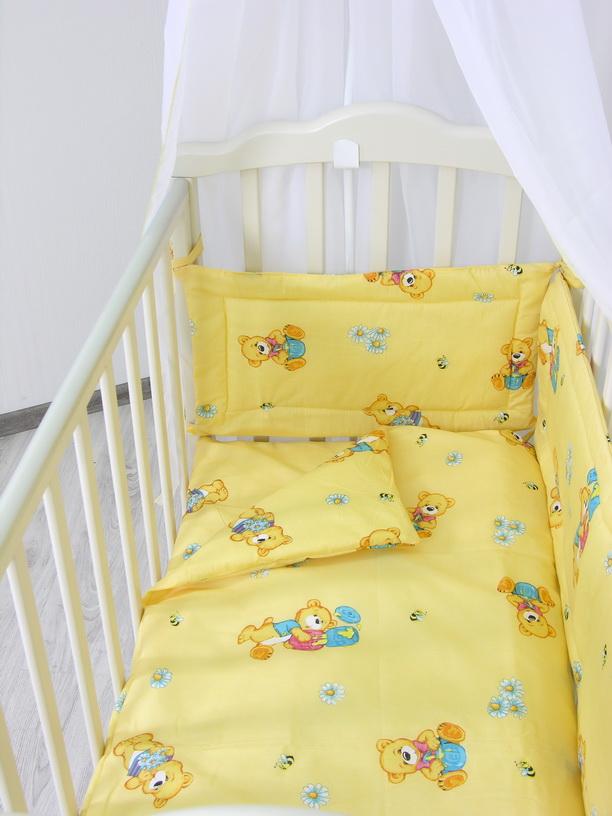Комплект в кроватку Фея Мишки, цвет: желтый, 6 предметов1063-3Комплект в кроватку Фея Мишки прекрасно подойдет для кроватки вашего малыша, добавит комнате уюта и согреет в прохладные дни. В качестве материала верха использован натуральный 100% хлопок. Мягкая ткань не раздражает чувствительную и нежную кожу ребенка и хорошо вентилируется.Одеяло и подушка наполнены холлофайбером, который поддерживаетциркуляцию воздуха, сохраняет тепло, не боится влаги и быстро сохнет. Очень важно, чтобы ваш малыш хорошо спал - это залог его здоровья, а значит вашего спокойствия. Комплект Фея Мишки идеально подойдет для кроватки вашего малыша. На нем ваш кроха будет спать здоровым и крепким сном.