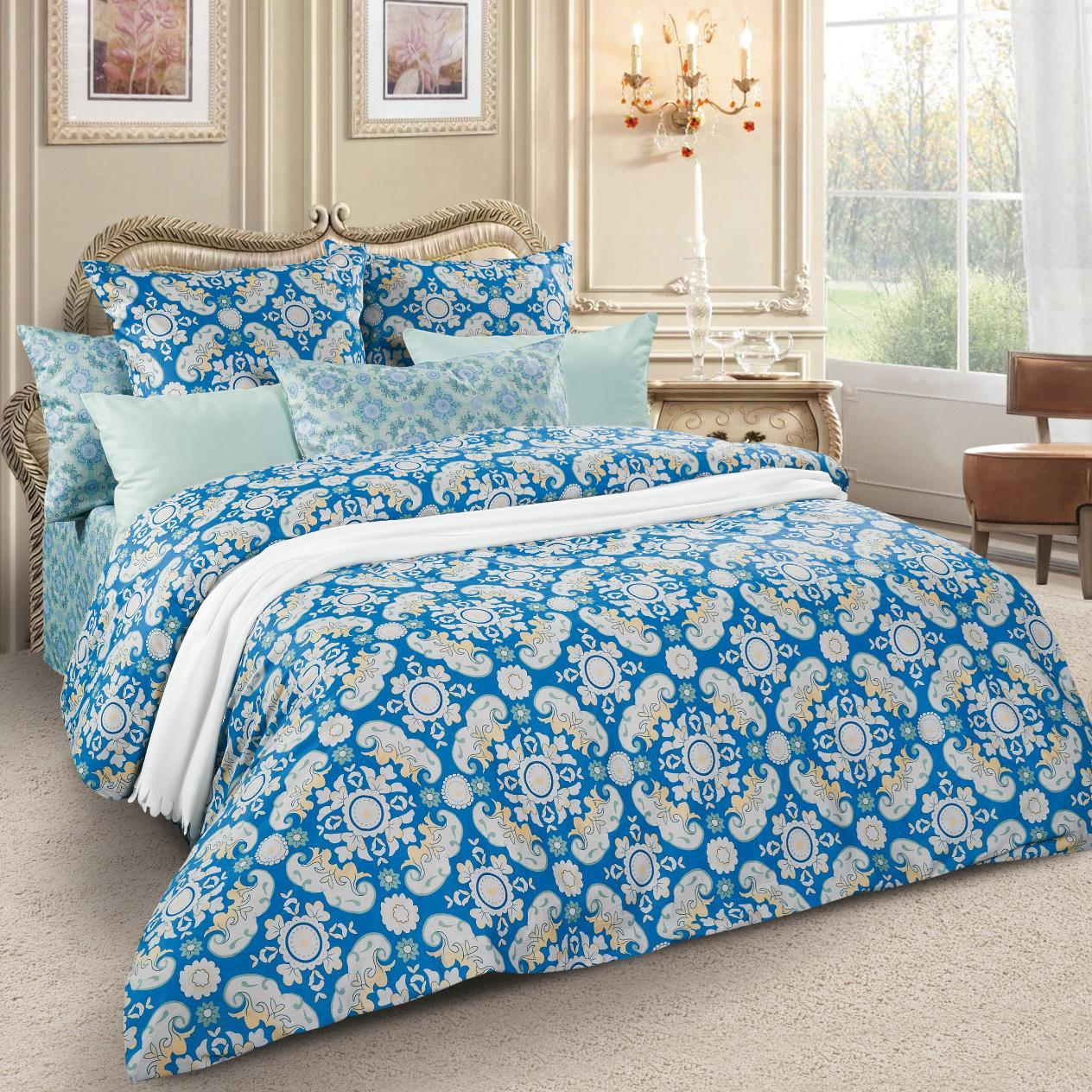 Комплект белья Letto, семейный, наволочки 70х70, цвет: синий. sm59-7 комплект белья letto дуэт семейный наволочки 70х70 цвет голубой b33 7