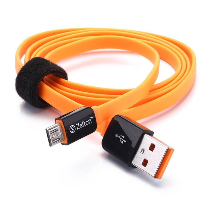 Zetton Flat кабель c Micro-USB, Black Orange (ZTLSUSBFCMC)ZTLSUSBFCMCBOZetton Flat (ZTLSUSBFCMC) - плоский кабель, который подходит для большинства современных смартфонов, планшетных ПК, а также других устройств с разъемом microUSB. С его помощью можно осуществлять передачу данных и заряжать устройство.