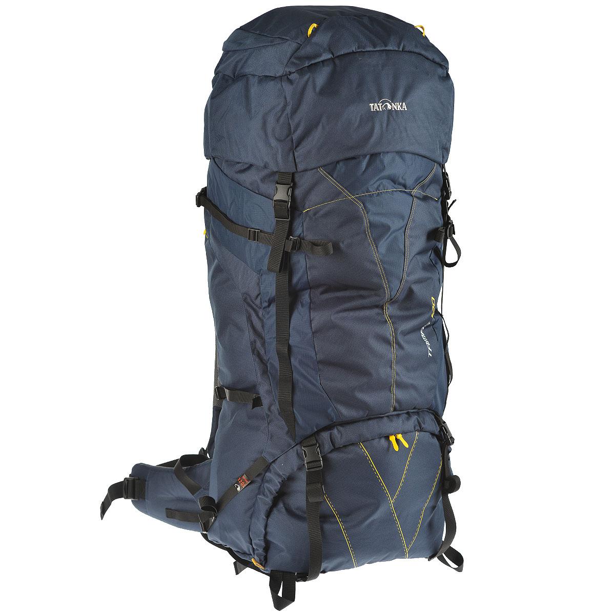 Рюкзак туристический Tatonka Tamas 120, цвет: темно-синий, 120 л6028.004Вместительный рюкзак Tatonka Tamas 120 - это отличный выбор для походов на байдарках - алюминиевые шины легко вытаскиваются из спины рюкзака и рюкзак можно компактно сложить и убрать в лодку.Преимущества и особенностиСистема переноски: Y1 Широкий поясной ремень Лямки регулируются по высоте, длине и плотности прилегания к рюкзаку Крышка рюкзака регулируется по высоте.Что взять с собой в поход?. Статья OZON Гид