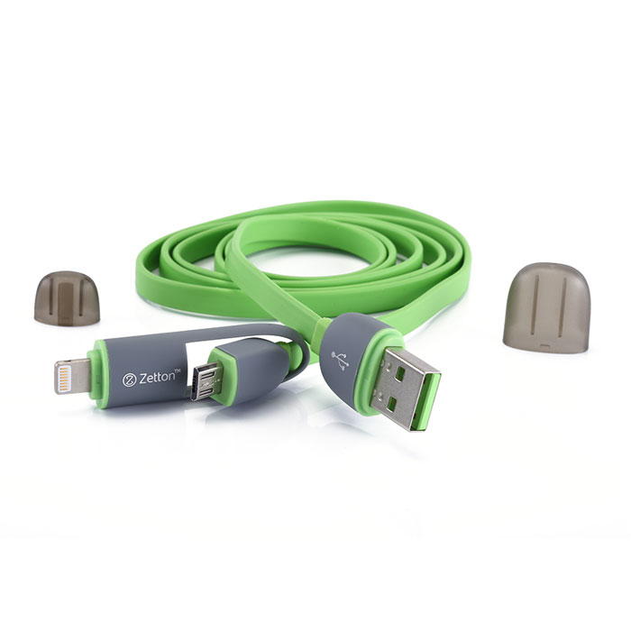 Zetton ZTLSUSB2IN1 USB кабель с разъемами Apple 8 pin/Micro-USB, Green