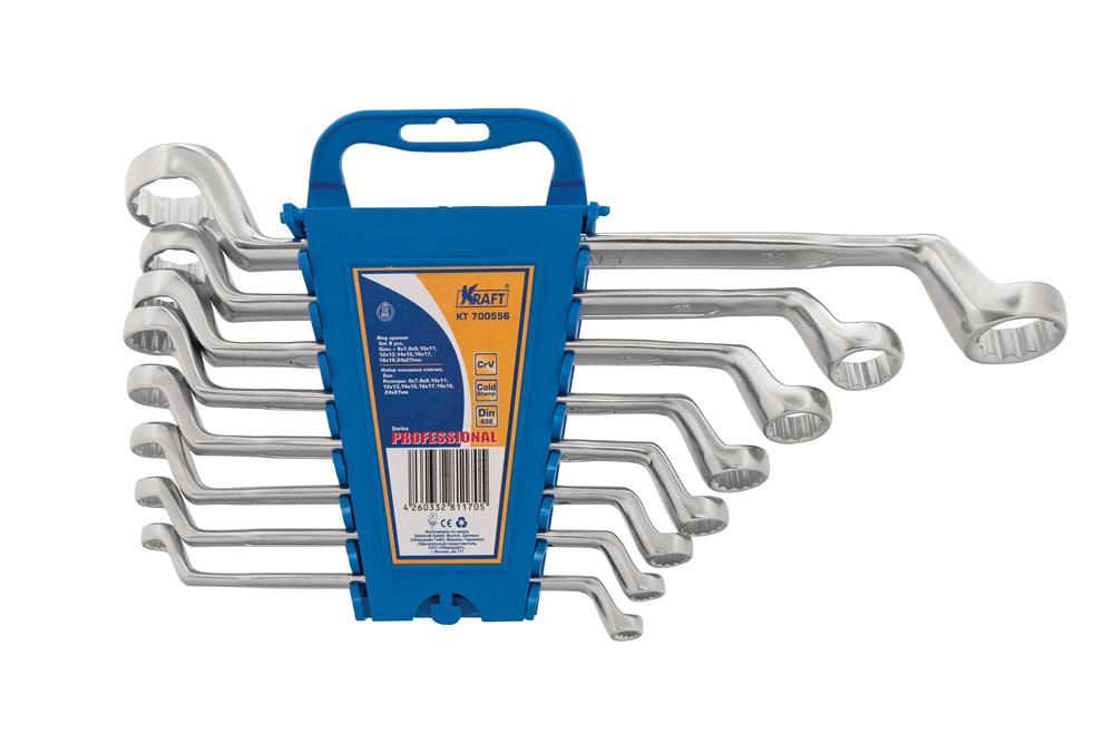 Набор накидных гаечных ключей Kraft Professional, 6 мм - 27 мм, 8 штКТ700556Набор накидных гаечных ключей Kraft Professional предназначен для профессионального применения в решении сантехнических, строительных и авторемонтных задач, а также для бытового использования. Все инструменты выполнены из высококачественной хромованадиевой стали, холодный штамп.Размеры ключей: 6 мм х 7 мм, 8 мм х 9 мм, 10 мм х 11 мм, 12 мм х 13 мм, 14 мм х 15 мм, 16 мм х 17 мм, 18 мм х 19 мм, 24 мм х 27 мм.