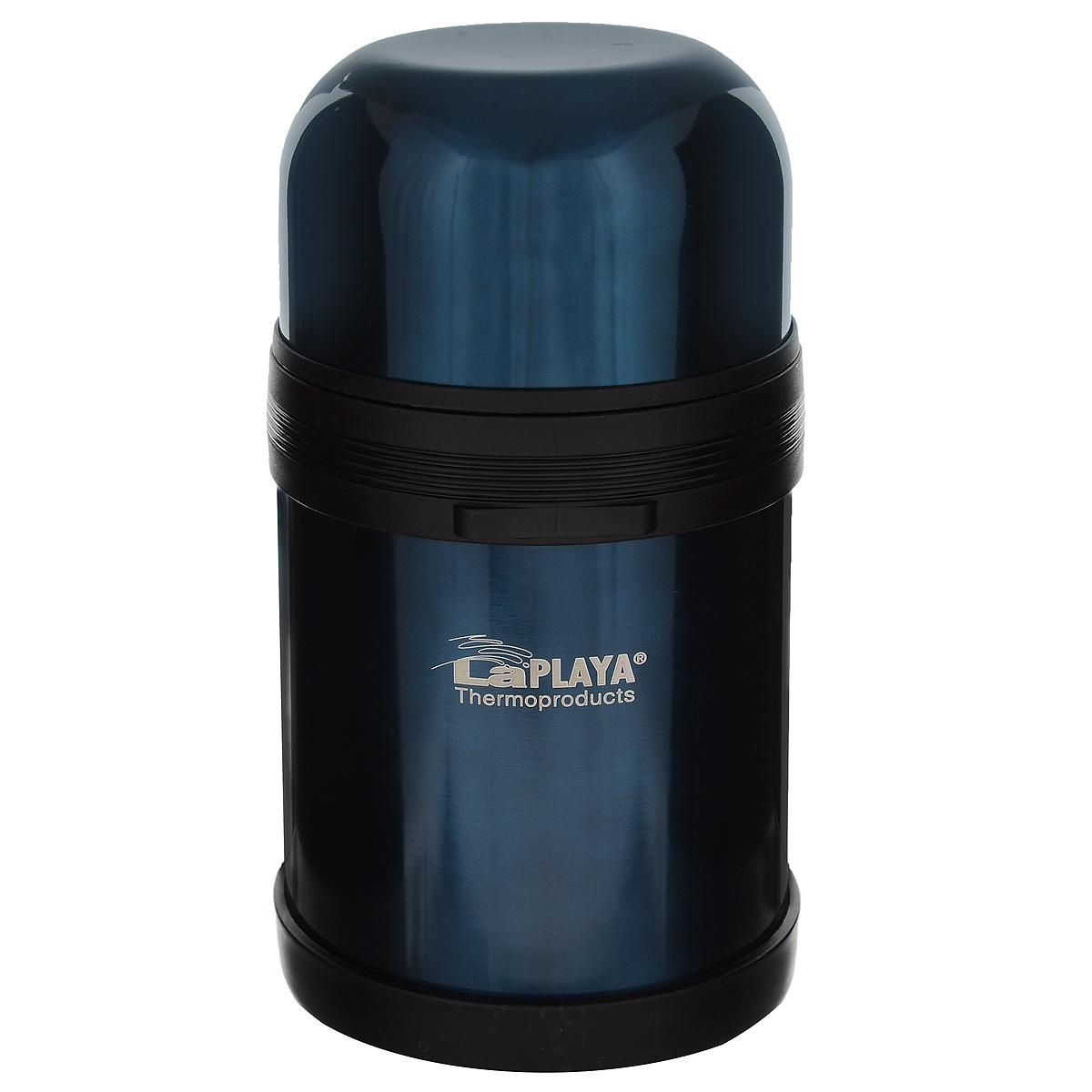 Термос LaPlaya Traditional, цвет: синий, 800 мл560042Термос LaPlaya Traditional оснащен двойными стенками с вакуумной изоляцией, которая позволяет сохранять напитки горячими и холодными длительное время. Легкий небьющийся корпус изготовлен из высококачественной нержавеющей стали. Широкая герметичная комбинированная пробка позволяет использовать термос для первых и вторых блюд при полном открывании и для напитков - при вывинчивании внутренней части. Изделие оснащено дополнительной пластиковой чашкой. Откидная ручка и съемный ремень позволяют удобно переносить термос.Термос LaPlaya Traditional идеален для вторых блюд, супов и напитков.Диаметр горлышка: 7,5 см.Высота термоса: 20 см.