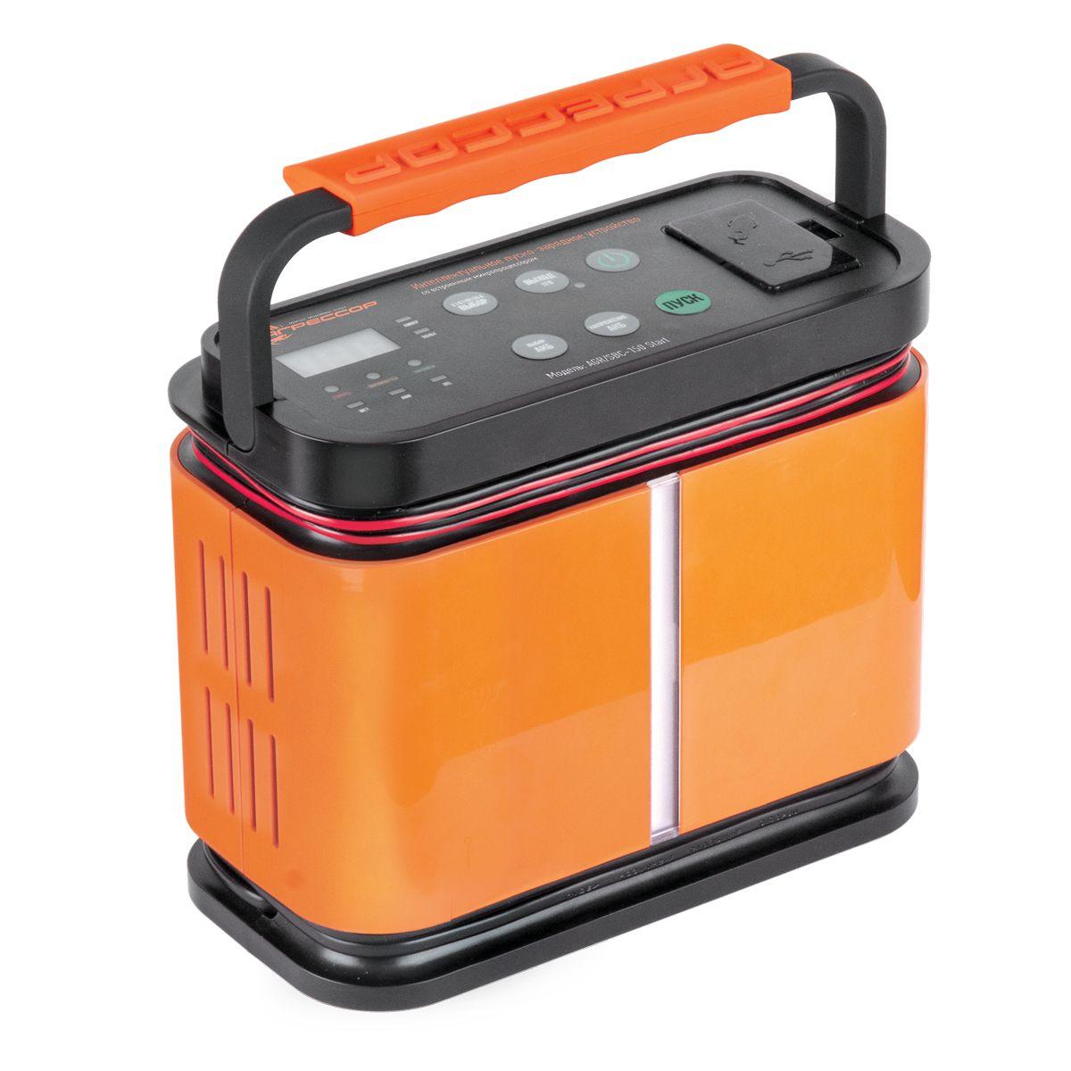 Устройство зарядное цифровое Autoprofi Агрессор AGR/SBC-150 Start, 9 фаз зарядки, ток 2/6/10/15 АAGR/SBC-150 StartЗарядное устройство Autoprofi Агрессор AGR/SBC-150 Start компактно и эргономично: все провода помещаются в специальных нишах, ручка складывается, размеры позволяют без труда разместить его в автомобиле или гараже. Устройство подходит для зарядки всех типов свинцово-кислотных батарей напряжением 12 В. Кроме того, оно заряжает электронные устройства (смартфоны, телефоны, фотоаппараты, плееры и пр.) через встроенные USB- порт или сеть 12 В.Устройство имеет усовершенствованную 9-ступенчатую систему зарядки и встроенный микропроцессор. Это, соответственно, сокращает время зарядки, обеспечивает безопасность и защиту от ошибок. Функция 5-минутной зарядки позволяет устройству быстро передать на батарею заряд, необходимый для запуска двигателя.Есть возможность выбрать оптимальную силу тока, установив один из четырех режимов: 2/ 6/ 10/ 15 А. Для оптимальной зарядки аккумуляторной батареи, в устройстве предусмотрена возможность установить тип АКБ: WET (жидкостный электролит), AGM (абсорбированный электролит), GEL (гелевый электролит).Autoprofi Агрессор AGR/SBC-150 Start работает как пусковое устройство при нажатии кнопки Пуск. После чего в течение 30 секунд на клеммы аккумуляторной батареи подается ток быстрой зарядки. Затем раздается сигнал, свидетельствующий о том, что можно запускать двигатель.
