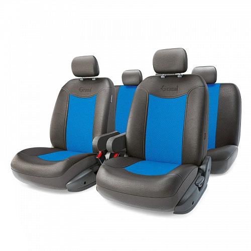 Авточехлы Autoprofi Grand Full, цвет: черный, синий, 13 предметов. Размер MGND-1305GF BK/BLАвтомобильные чехлы Autoprofi Grand Full изготавливаются из высококачественной экокожи с перфорированными цветными вставками. Мягкие и дышащие, чехлы являются отличным дополнением салона любого автомобиля. Изделия выполнены в классическом дизайне и придают автомобильному интерьеру современные и солидные черты.Полиуретановое покрытие искусственной кожи чехлов устойчиво к солнечным лучам, механическому воздействию и растяжению, благодаря чему чехлы отличаются продолжительным сроком эксплуатации.Чехлы из экокожи выглядят стильно в салоне любого автомобиля. На вид чехлы неотличимы от кожаных. Они хорошо скрывают уже имеющиеся дефекты кресла.Универсальная конструкция подходит для большинства автомобильных сидений. Подходят для автомобилей с боковыми подушками безопасности (распускаемый шов).Комплектация: 5 подголовников, 2 подлокотника, 2 спинки переднего ряда, 2 сиденья переднего ряда, 1 спинка заднего ряда, 1 сиденье заднего ряда.Особенности: - Толщина поролона: 5 мм.- Карманы в спинках передних сидений.- 3 молнии в сиденье заднего ряда.- 3 молнии в спинке заднего ряда.- Предустановленные крючки на широких резинках.- Крепление передних спинок липучками.- Использование с боковыми airbag. Размер подголовника: 30 см х 24 см.Размер подлокотника: 37 см х 6 см х 11 см.Размер спинки переднего ряда: 70 см х 57 см.Размер сиденья переднего ряда: 58 см х 54 см.Размер спинки заднего ряда: 140 см х 73 см.Размер сиденья заднего ряда: 135 см х 59 см.