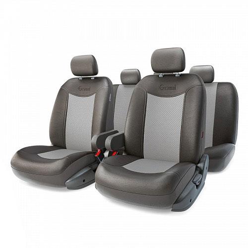 Авточехлы Autoprofi Grand Full, цвет: черный, серый, 13 предметов. Размер MGND-1305GF BK/D.GYАвтомобильные чехлы Autoprofi Grand Full изготавливаются из высококачественной экокожи с перфорированными цветными вставками. Мягкие и дышащие, чехлы являются отличным дополнением салона любого автомобиля. Изделия выполнены в классическом дизайне и придают автомобильному интерьеру современные и солидные черты.Полиуретановое покрытие искусственной кожи чехлов устойчиво к солнечным лучам, механическому воздействию и растяжению, благодаря чему чехлы отличаются продолжительным сроком эксплуатации.Чехлы из экокожи выглядят стильно в салоне любого автомобиля. На вид чехлы неотличимы от кожаных. Они хорошо скрывают уже имеющиеся дефекты кресла.Универсальная конструкция подходит для большинства автомобильных сидений. Подходят для автомобилей с боковыми подушками безопасности (распускаемый шов).Комплектация: 5 подголовников, 2 подлокотника, 2 спинки переднего ряда, 2 сиденья переднего ряда, 1 спинка заднего ряда, 1 сиденье заднего ряда.Особенности: - Толщина поролона: 5 мм.- Карманы в спинках передних сидений.- 3 молнии в сиденье заднего ряда.- 3 молнии в спинке заднего ряда.- Предустановленные крючки на широких резинках.- Крепление передних спинок липучками.- Использование с боковыми airbag. Размер подголовника: 30 см х 24 см.Размер подлокотника: 37 см х 6 см х 11 см.Размер спинки переднего ряда: 70 см х 57 см.Размер сиденья переднего ряда: 58 см х 54 см.Размер спинки заднего ряда: 140 см х 73 см.Размер сиденья заднего ряда: 135 см х 59 см.